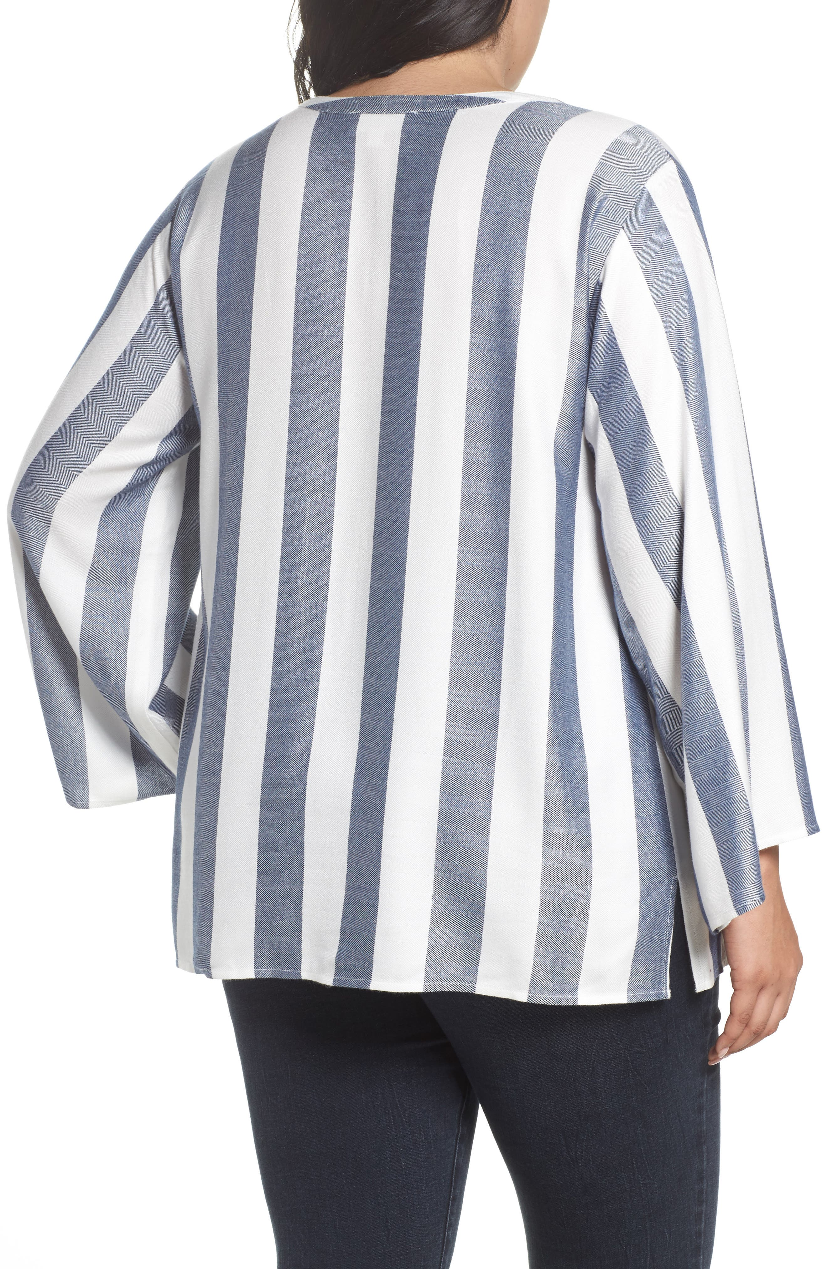 Alternate Image 2  - Two by Vince Camuto Bell Sleeve Stripe Top (Plus Size)