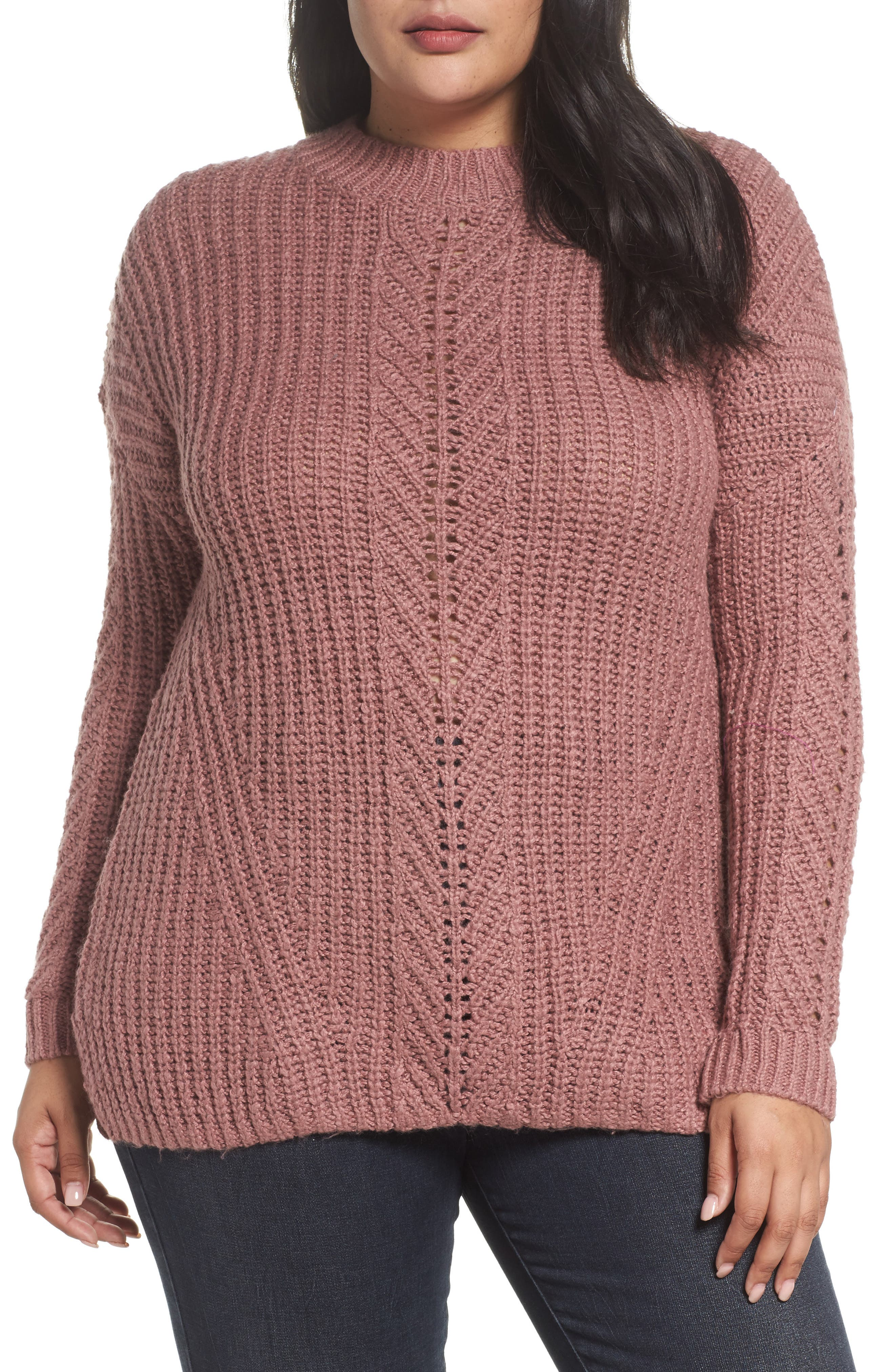Main Image - Lucky Brand Open Stitch Sweater (Plus Size)
