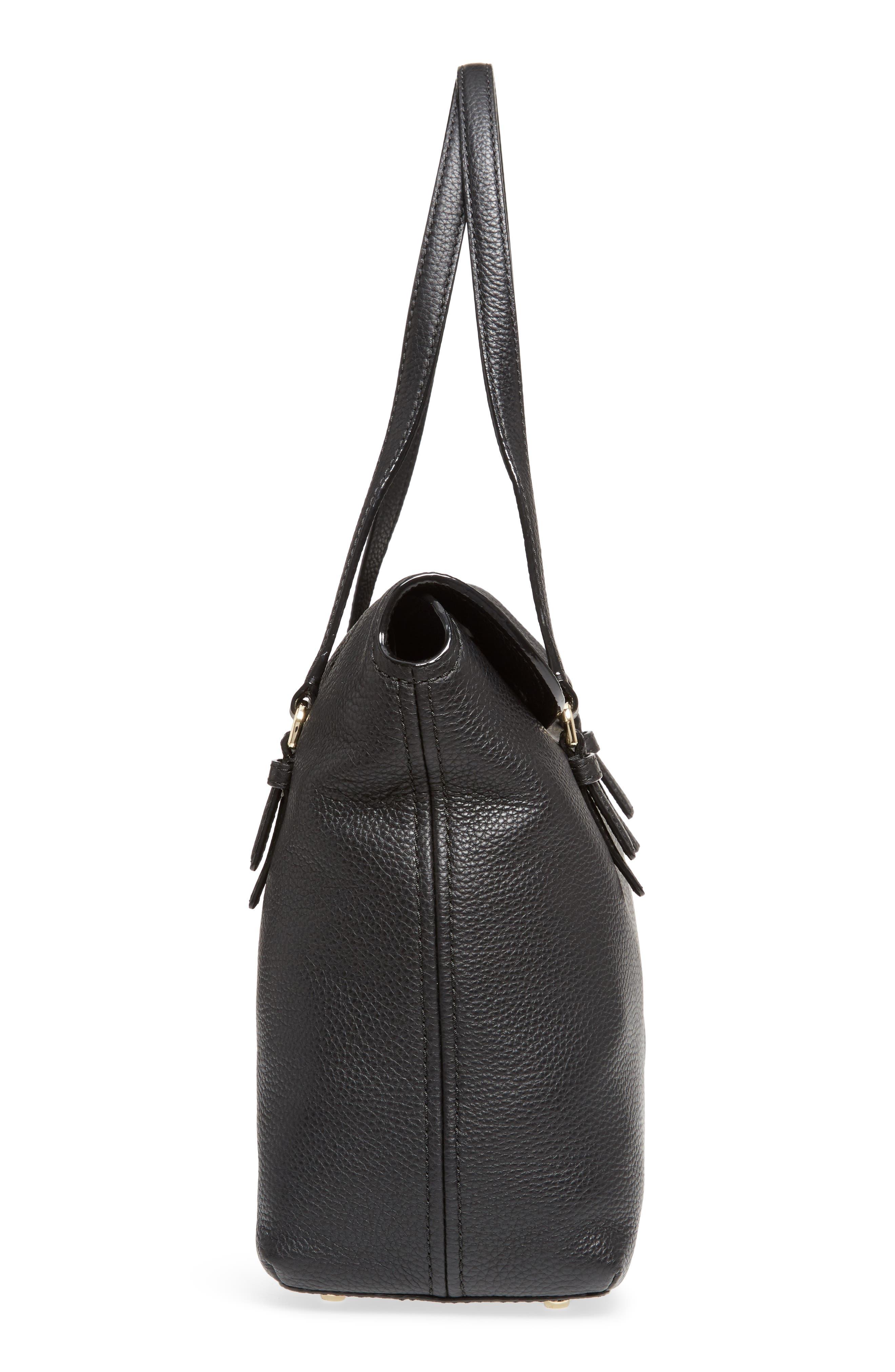 jackson street arietta pebbled leather tote,                             Alternate thumbnail 5, color,                             Black