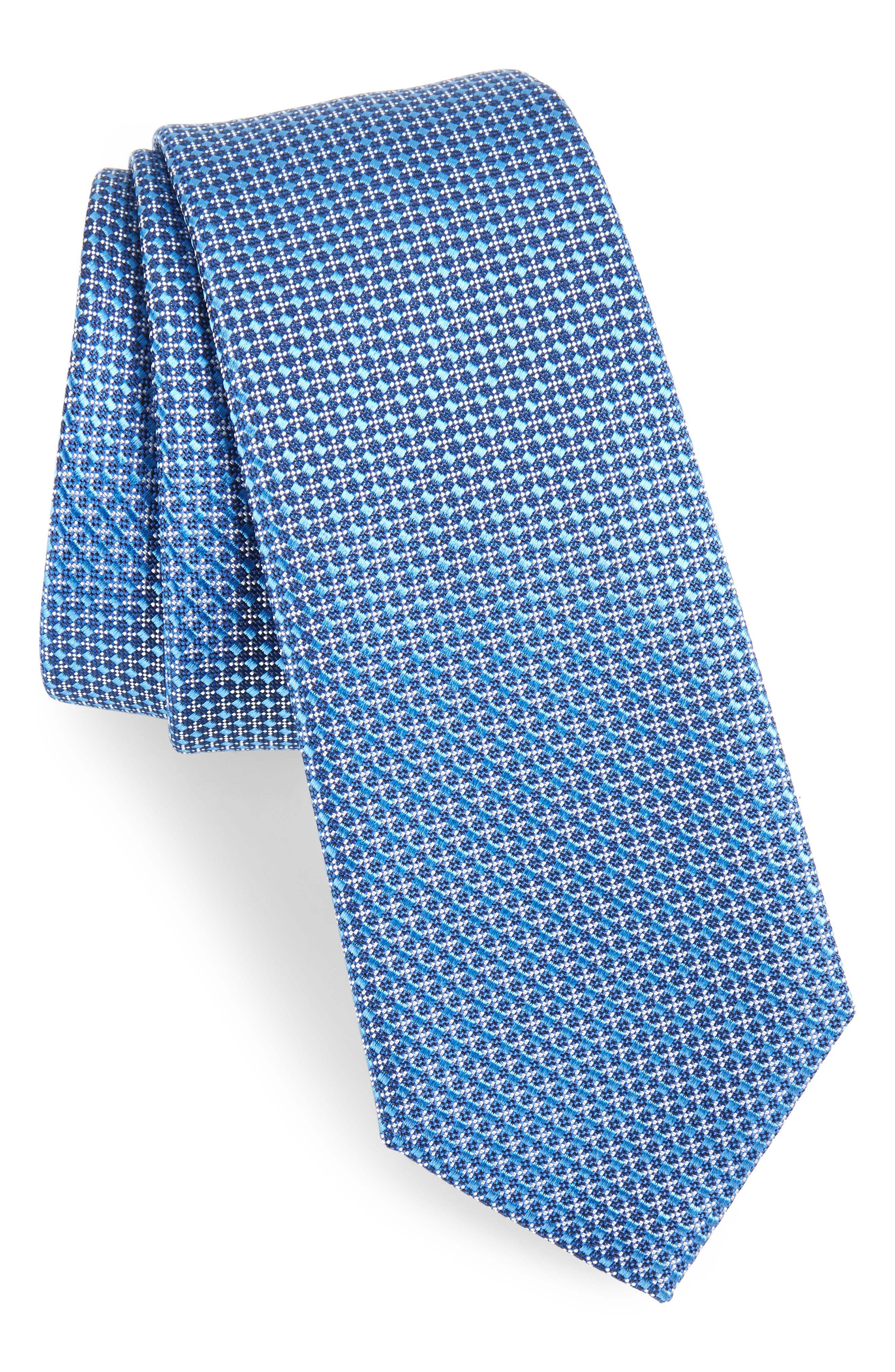Geometric Neat Silk Skinny Tie,                         Main,                         color, Blue
