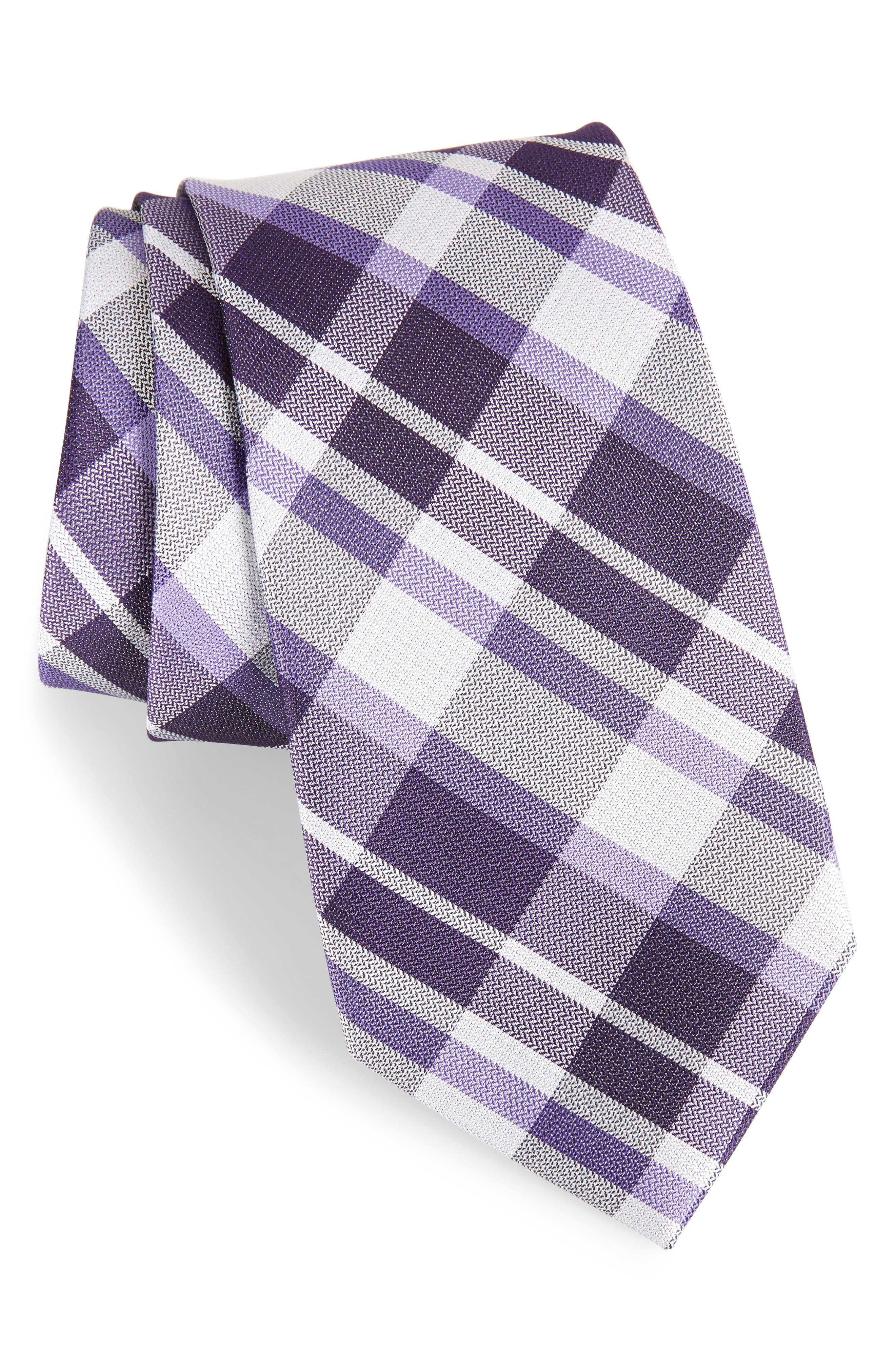 Modern Schoolboy Plaid Silk Tie,                         Main,                         color, Purple