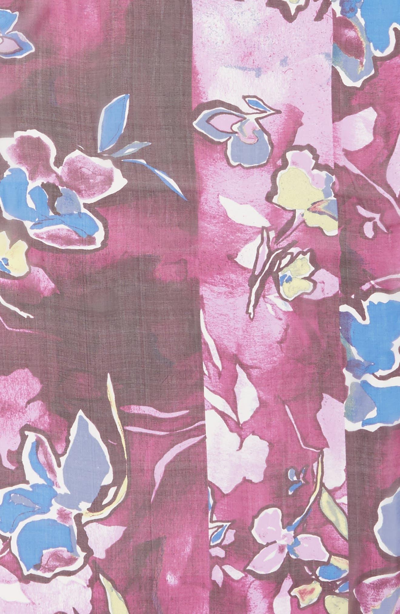 Silk Chiffon Oblong Scarf,                             Alternate thumbnail 4, color,                             Purple Textured Blooms