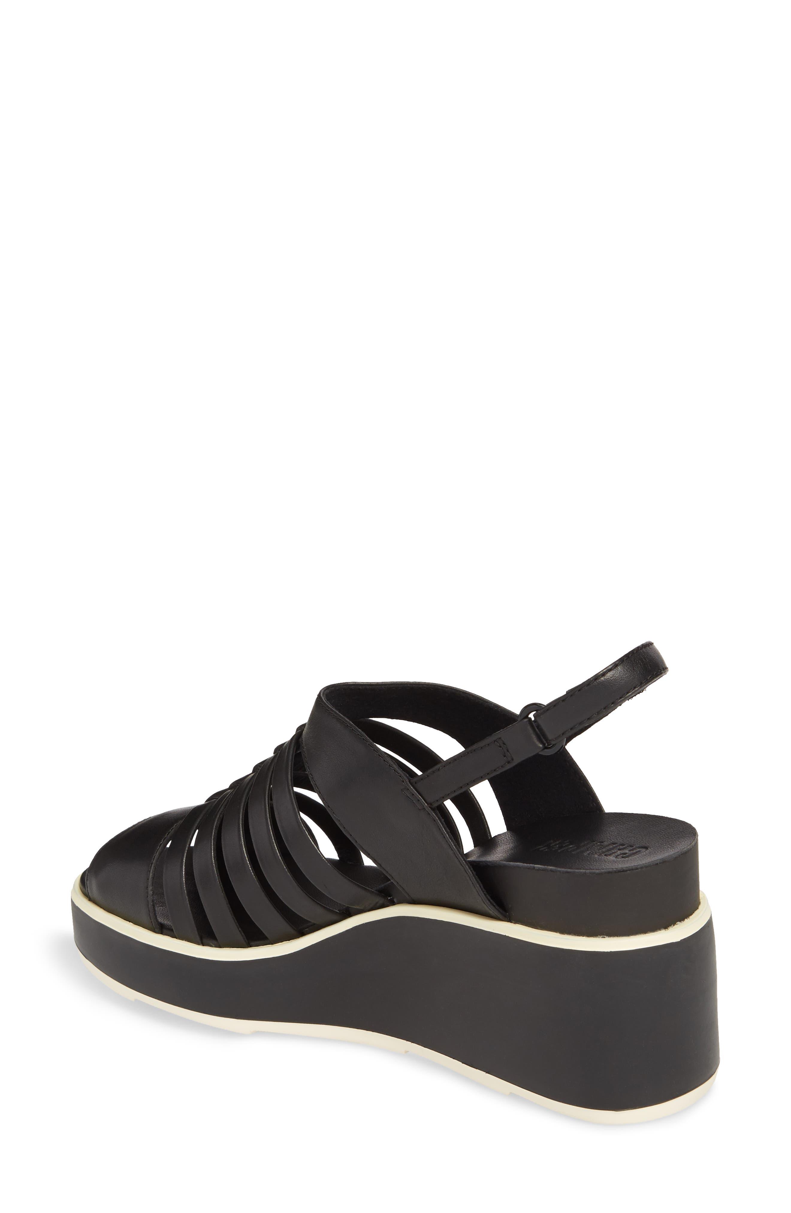 Tropik Strappy Wedge Sandal,                             Alternate thumbnail 2, color,                             Black Leather