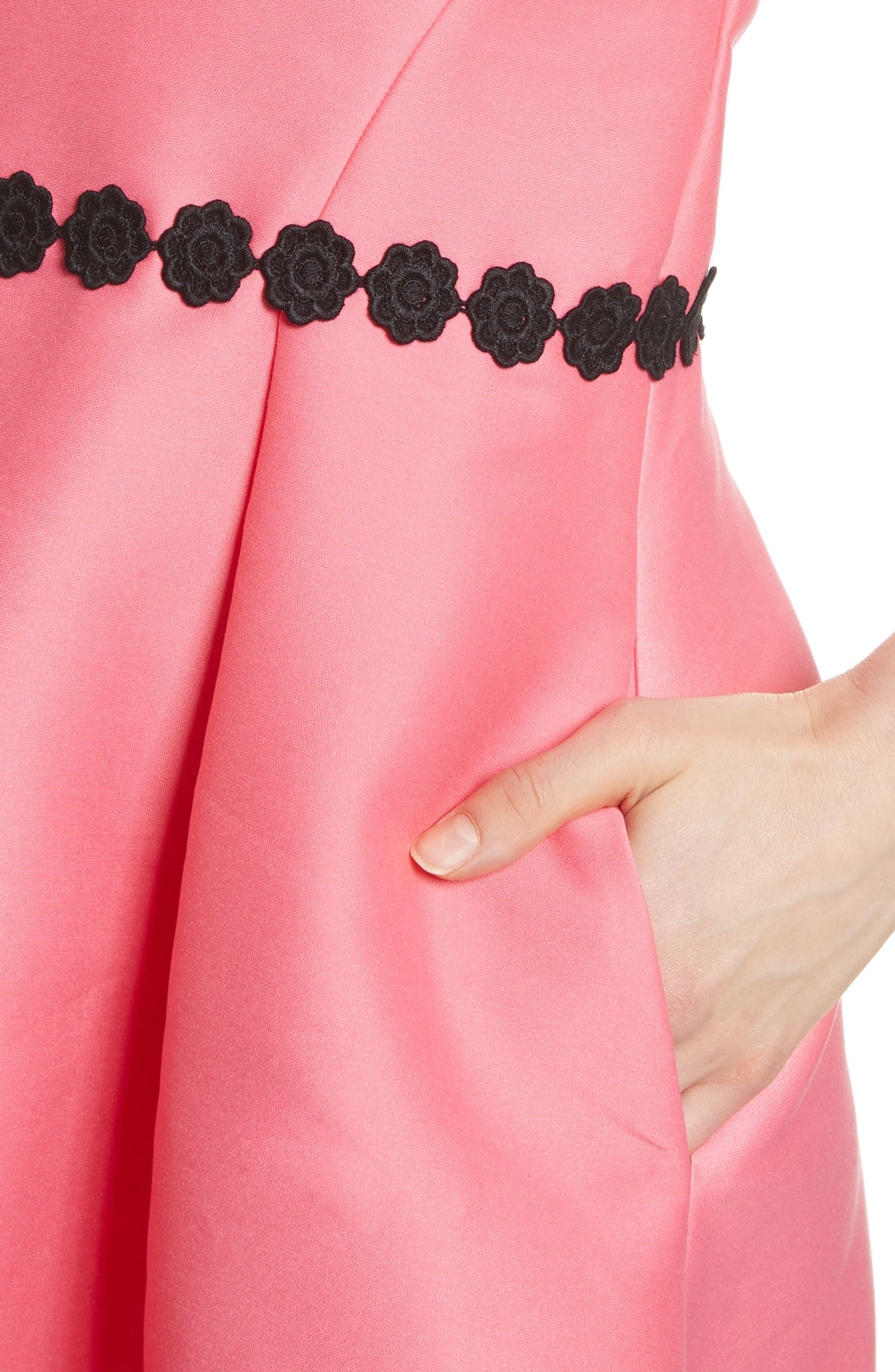 floral lace trim mikado fit & flare dress,                             Alternate thumbnail 4, color,                             Petunia