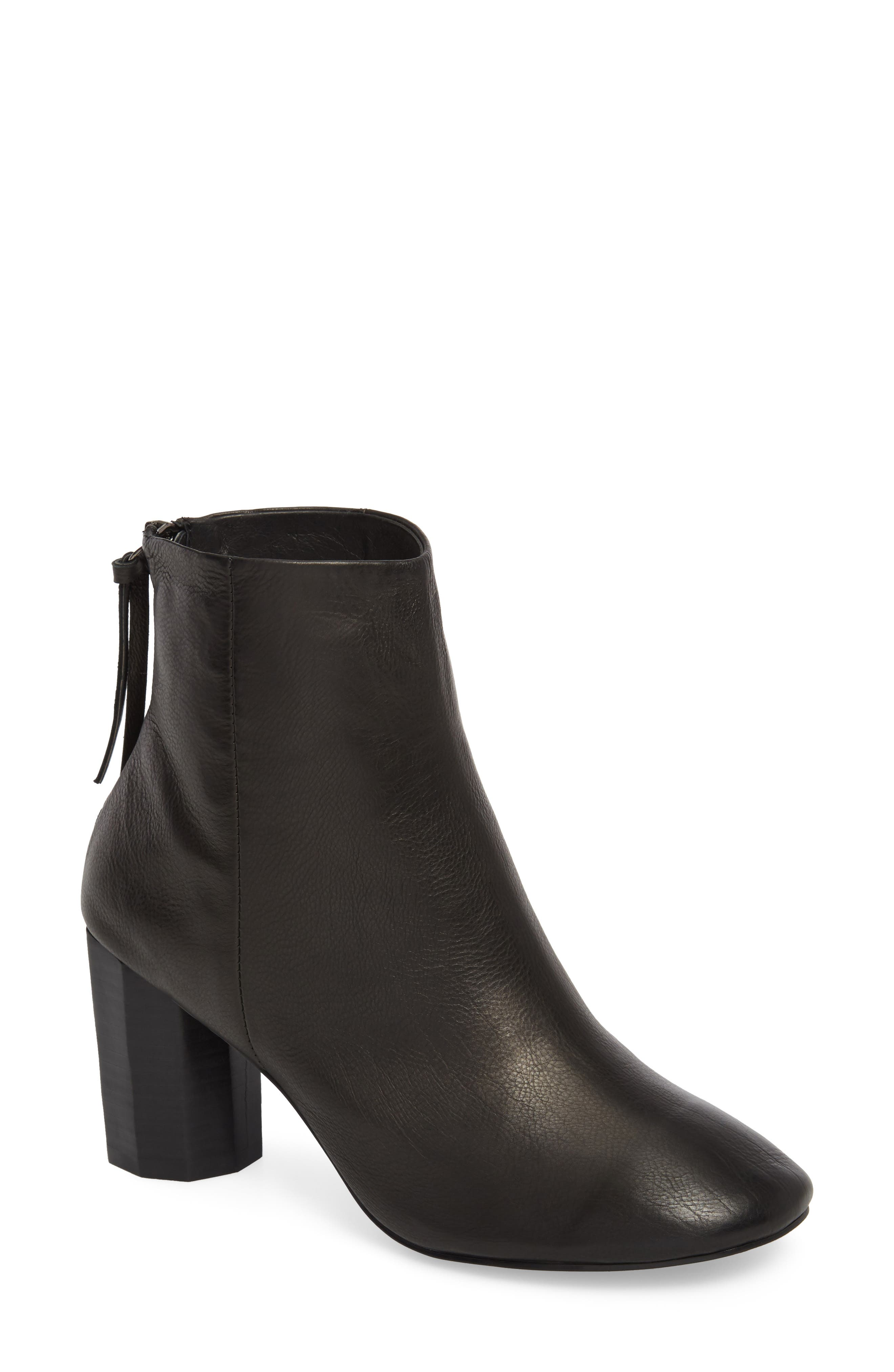 Sadie Column Heel Bootie,                             Main thumbnail 1, color,                             Black Leather