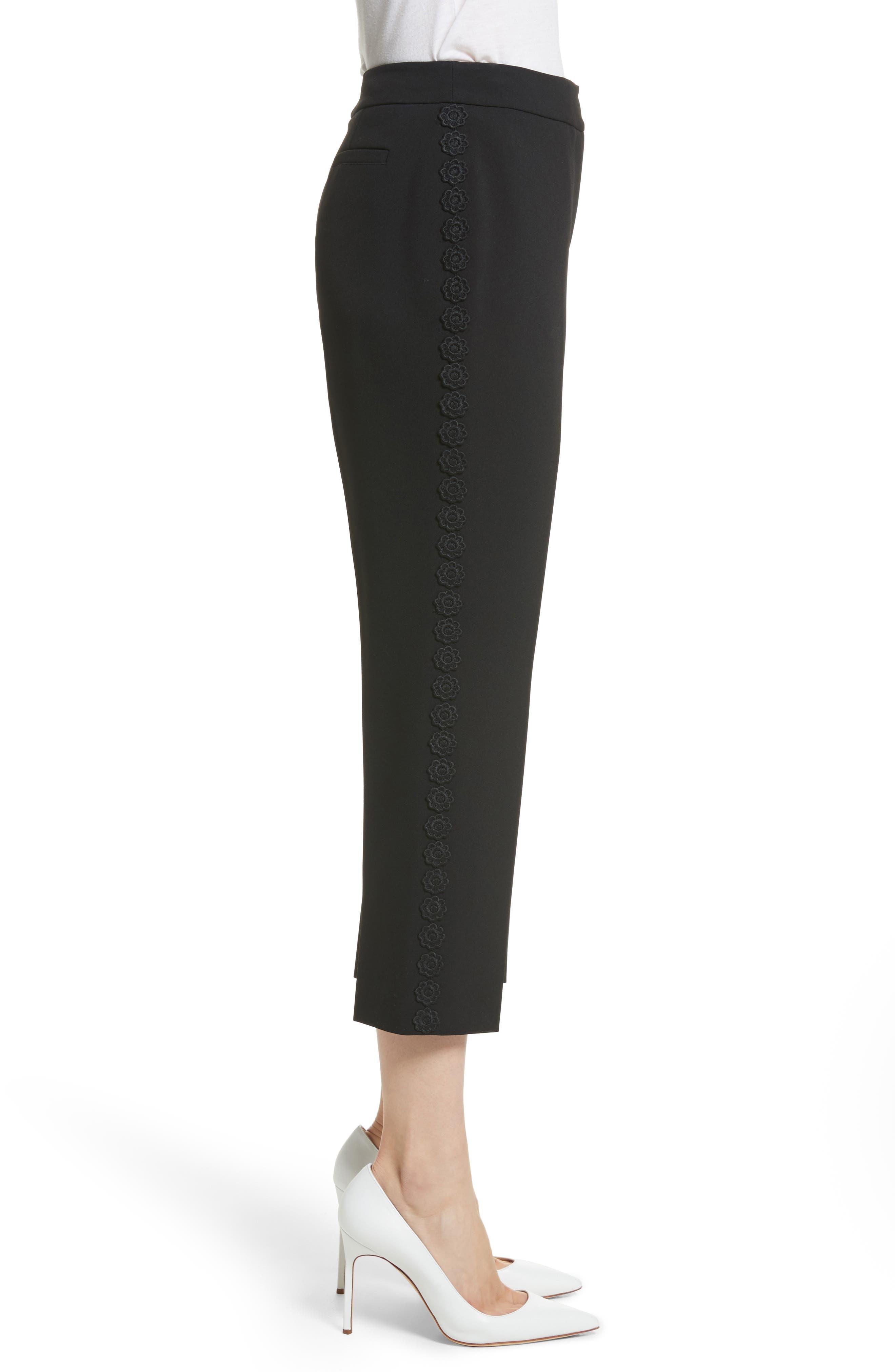 lace trim crop cigarette pants,                             Alternate thumbnail 3, color,                             Black