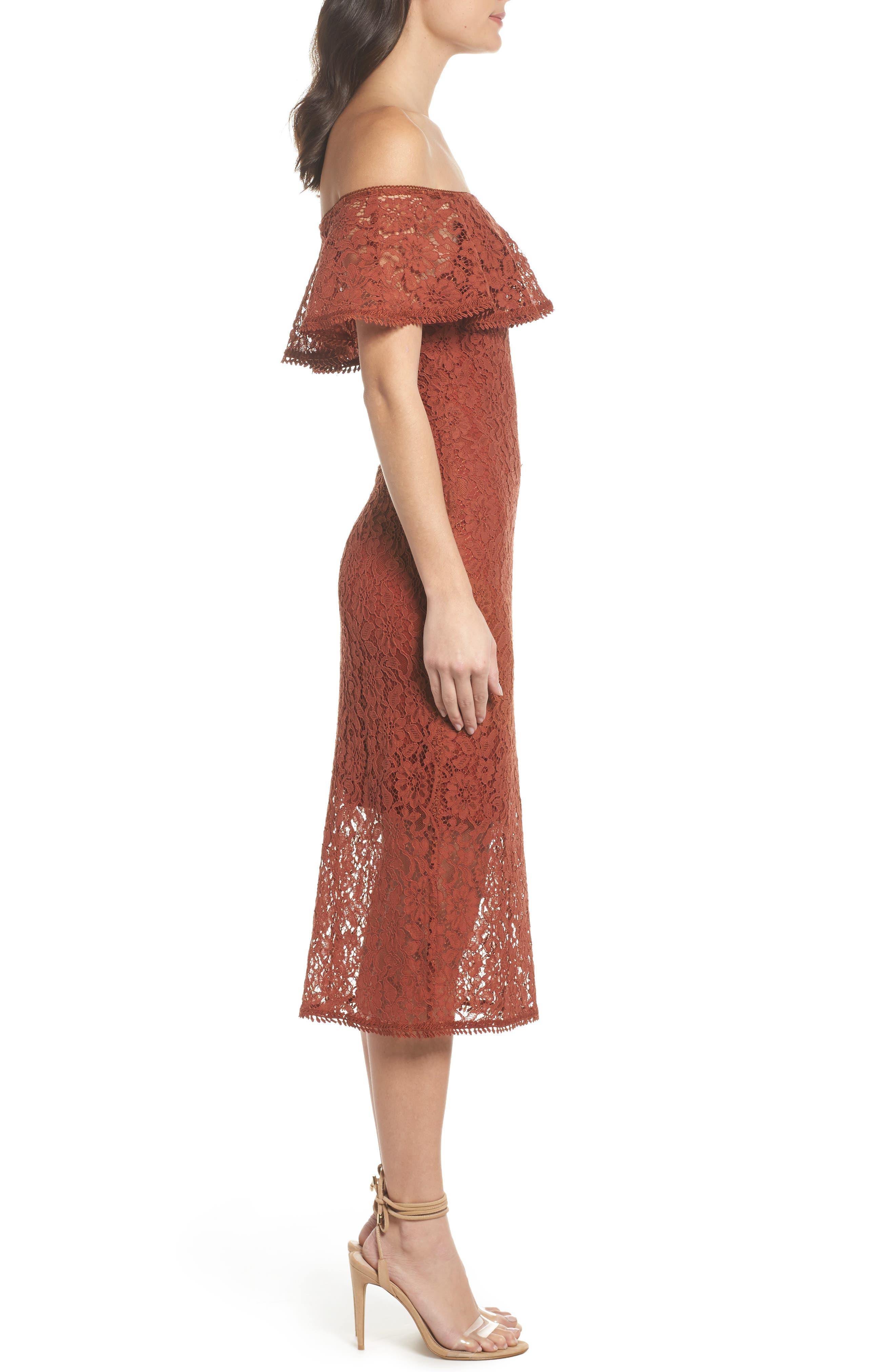 Lace Off the Shoulder Midi Dress,                             Alternate thumbnail 3, color,                             Cinnabar