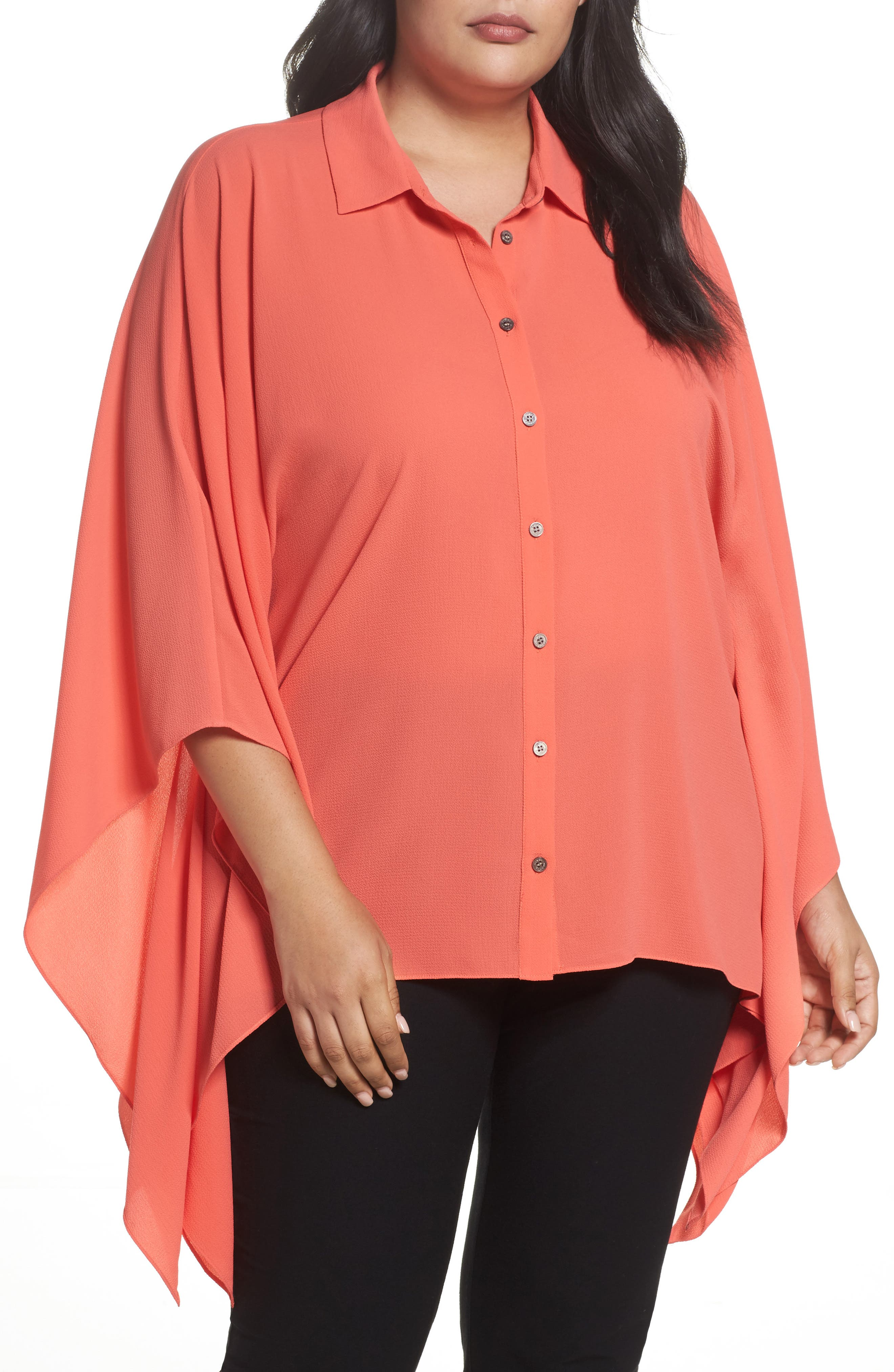 Main Image - Vince Camuto Button Down Collared Poncho Top (Plus Size)