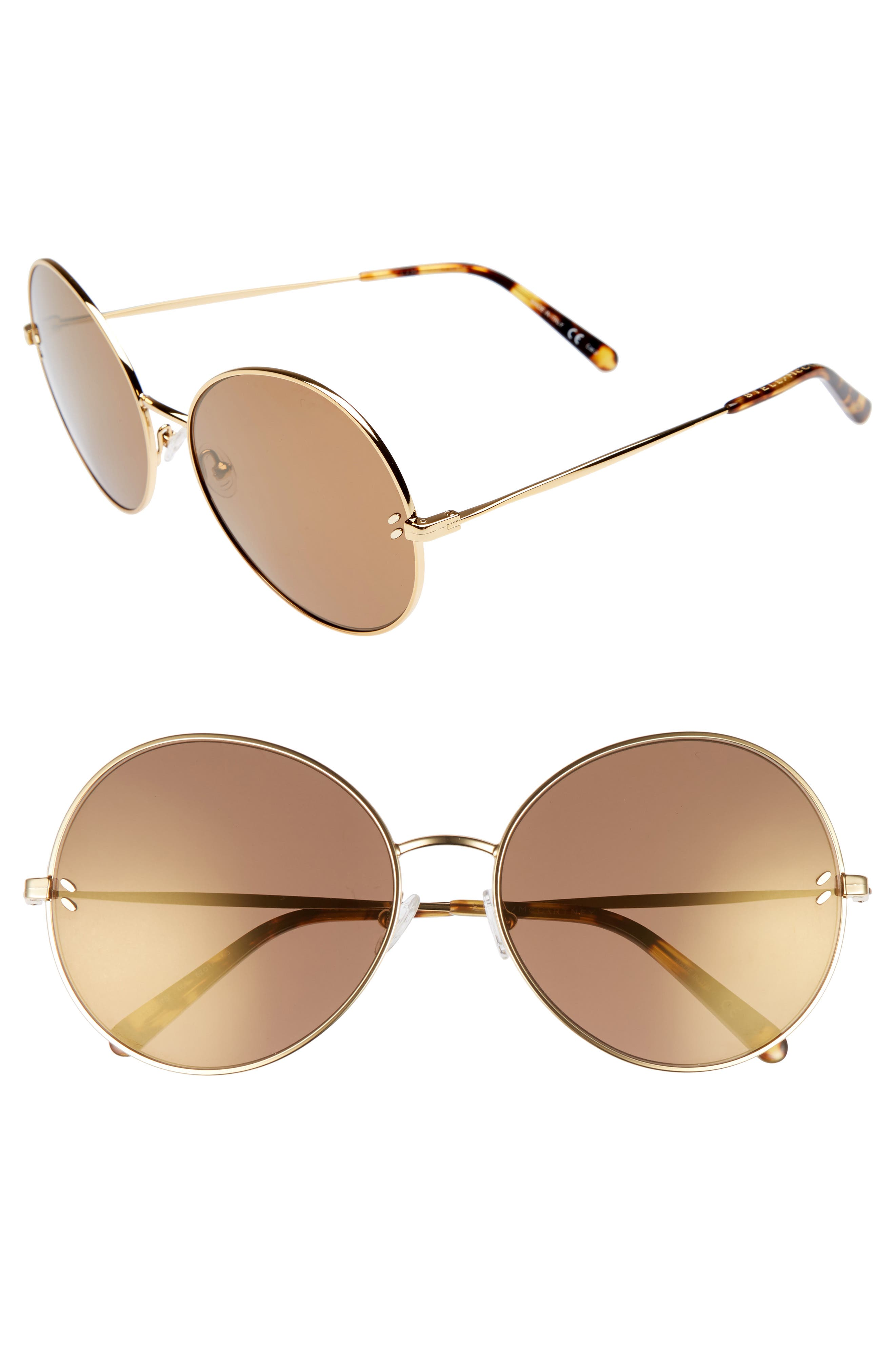 62mm Round Sunglasses,                             Main thumbnail 1, color,                             Gold/ Brown