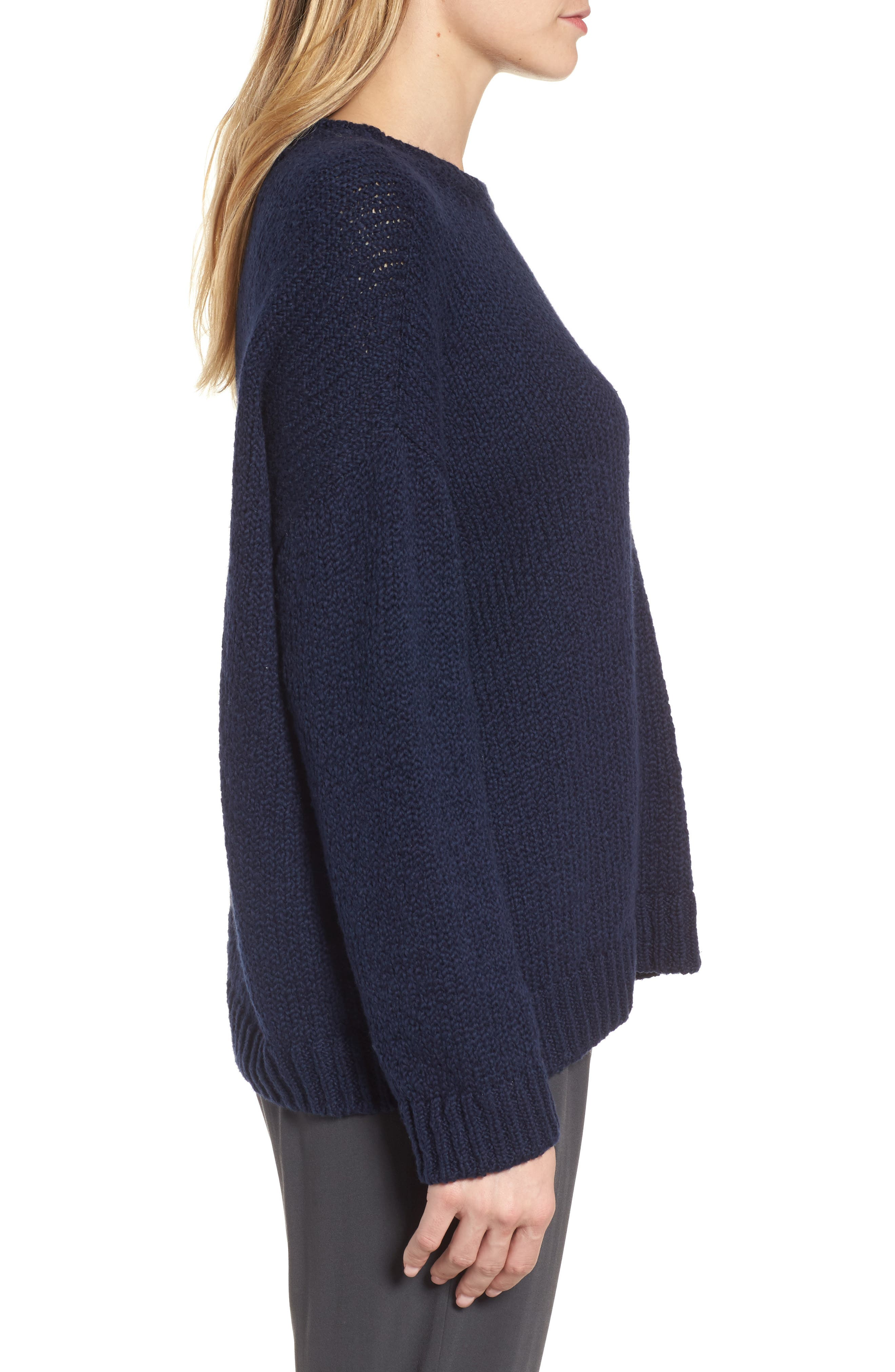 Organic Cotton Crewneck Sweater,                             Alternate thumbnail 3, color,                             Midnight