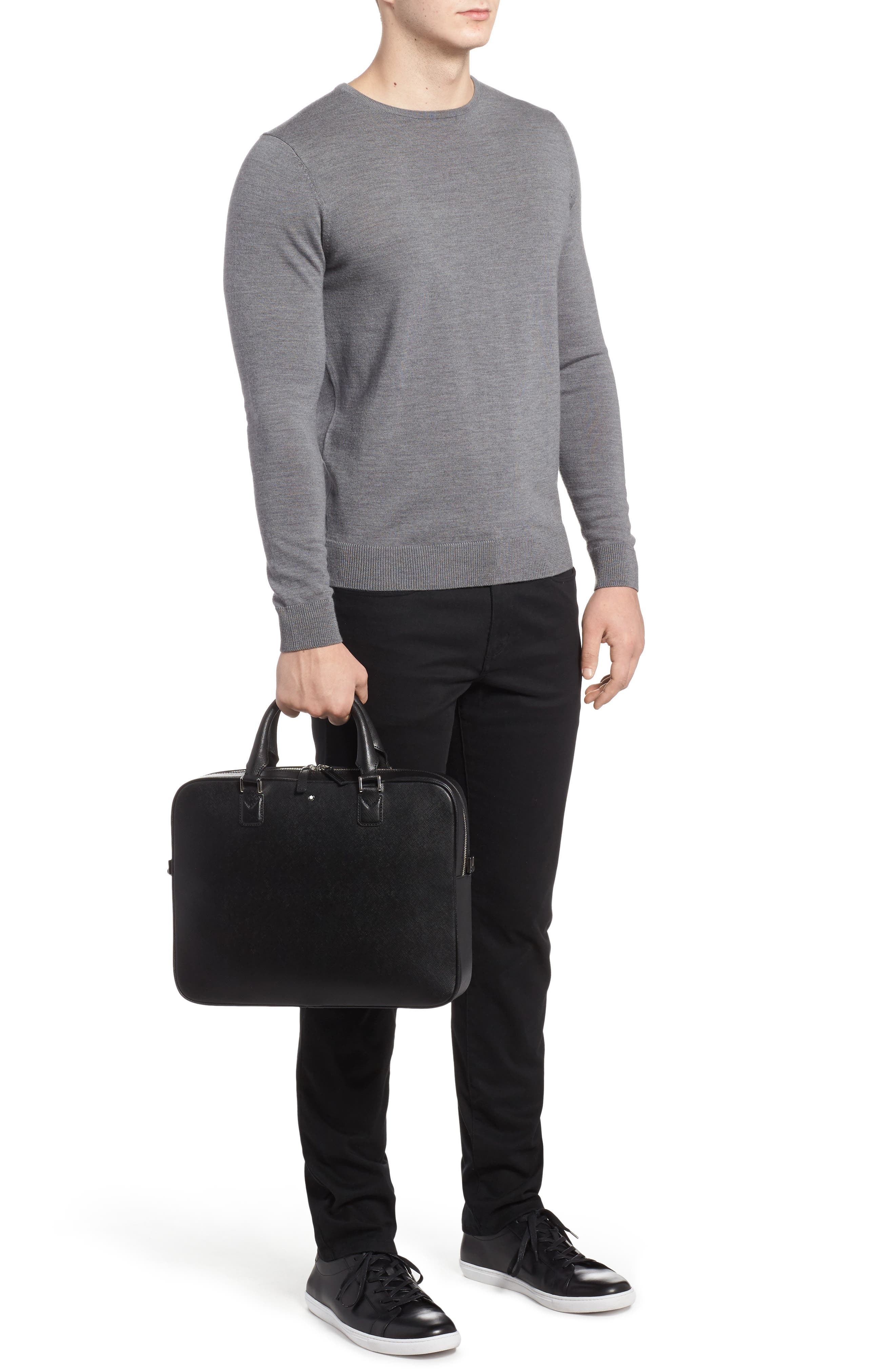 Sartorial Leather Briefcase,                             Alternate thumbnail 2, color,                             Black