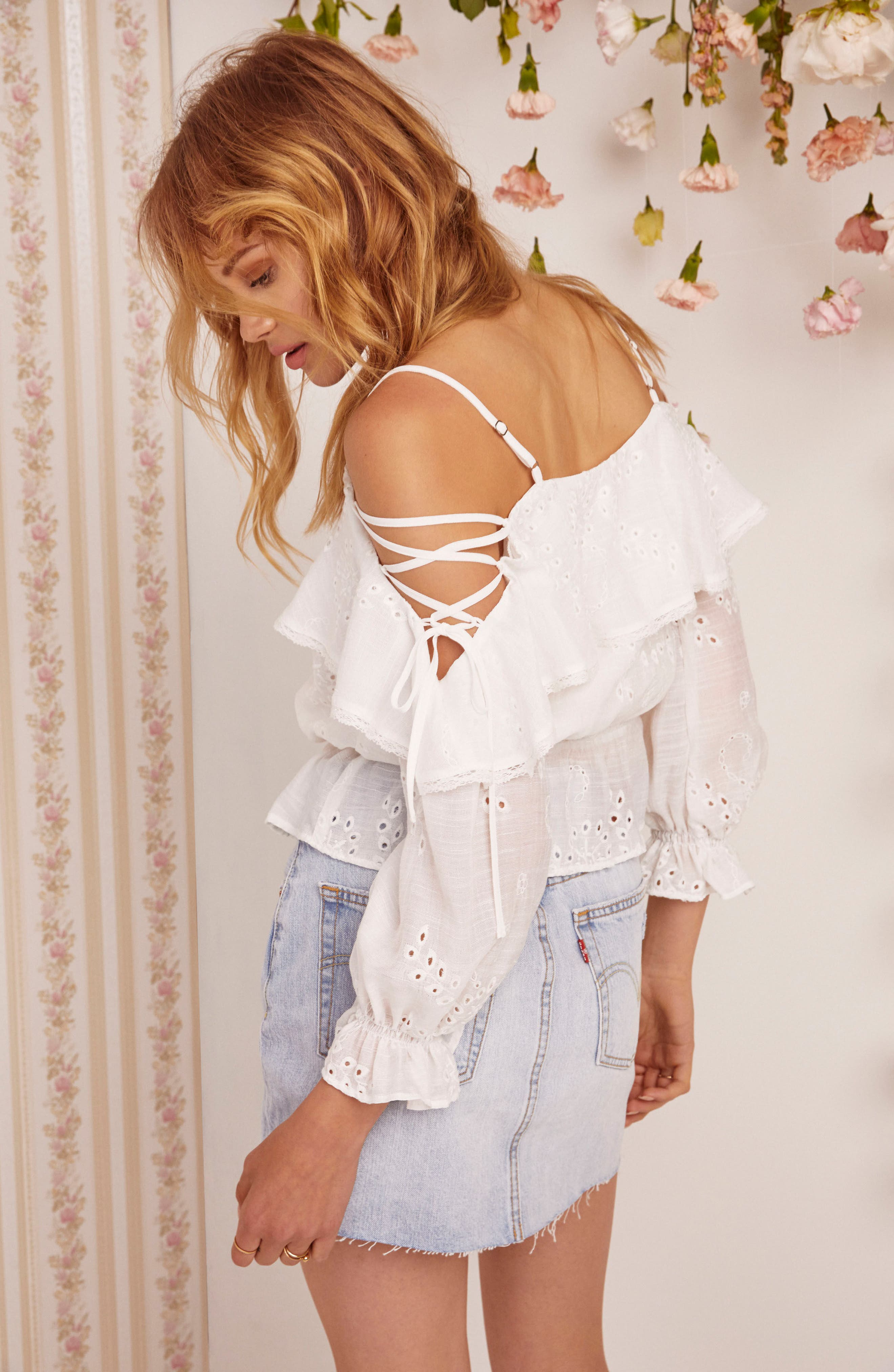 Kennedy Off the Shoulder Top,                             Alternate thumbnail 4, color,                             White