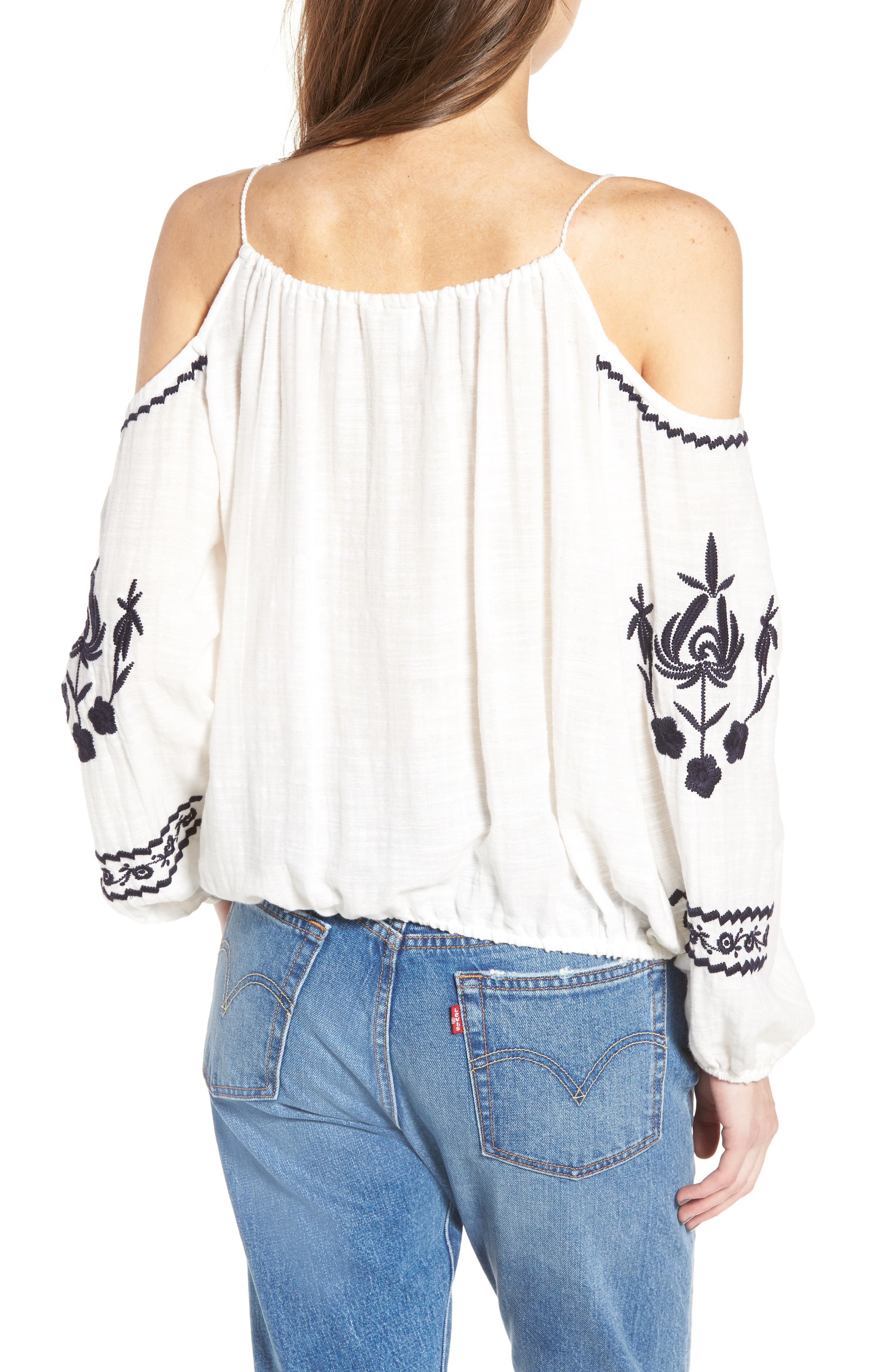 Embroidered Tassel Cold Shoulder Top,                             Alternate thumbnail 2, color,                             Ivory Egret