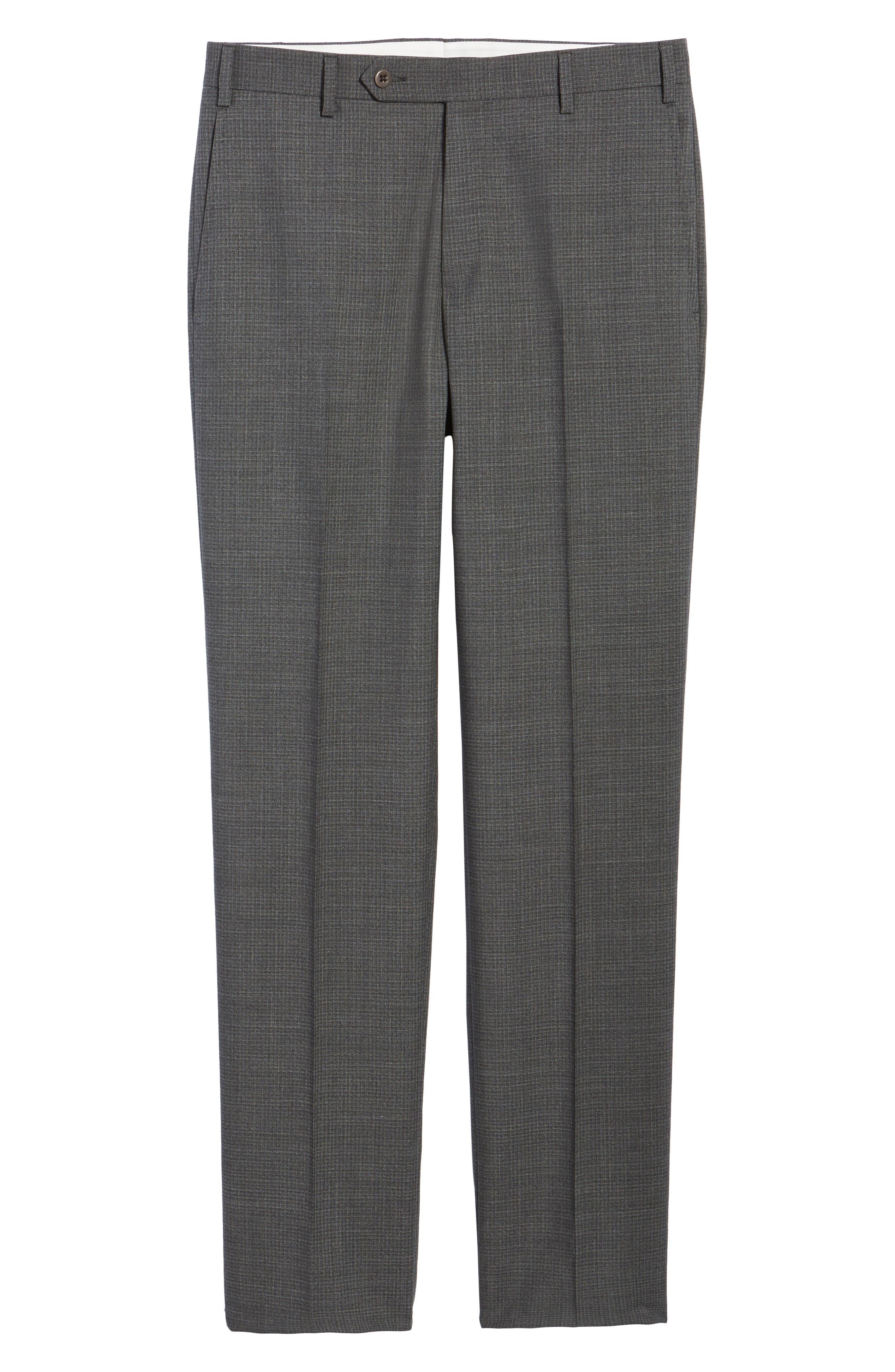 Devon Flat Front Check Wool Trousers,                             Alternate thumbnail 6, color,                             Dark Grey