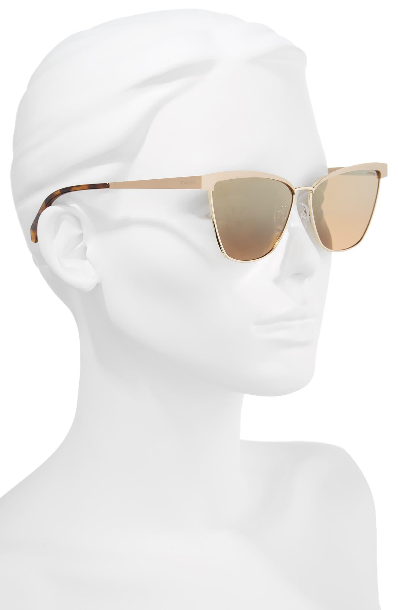 60mm Polarized Cat Eye Sunglasses,                             Alternate thumbnail 2, color,                             Gold