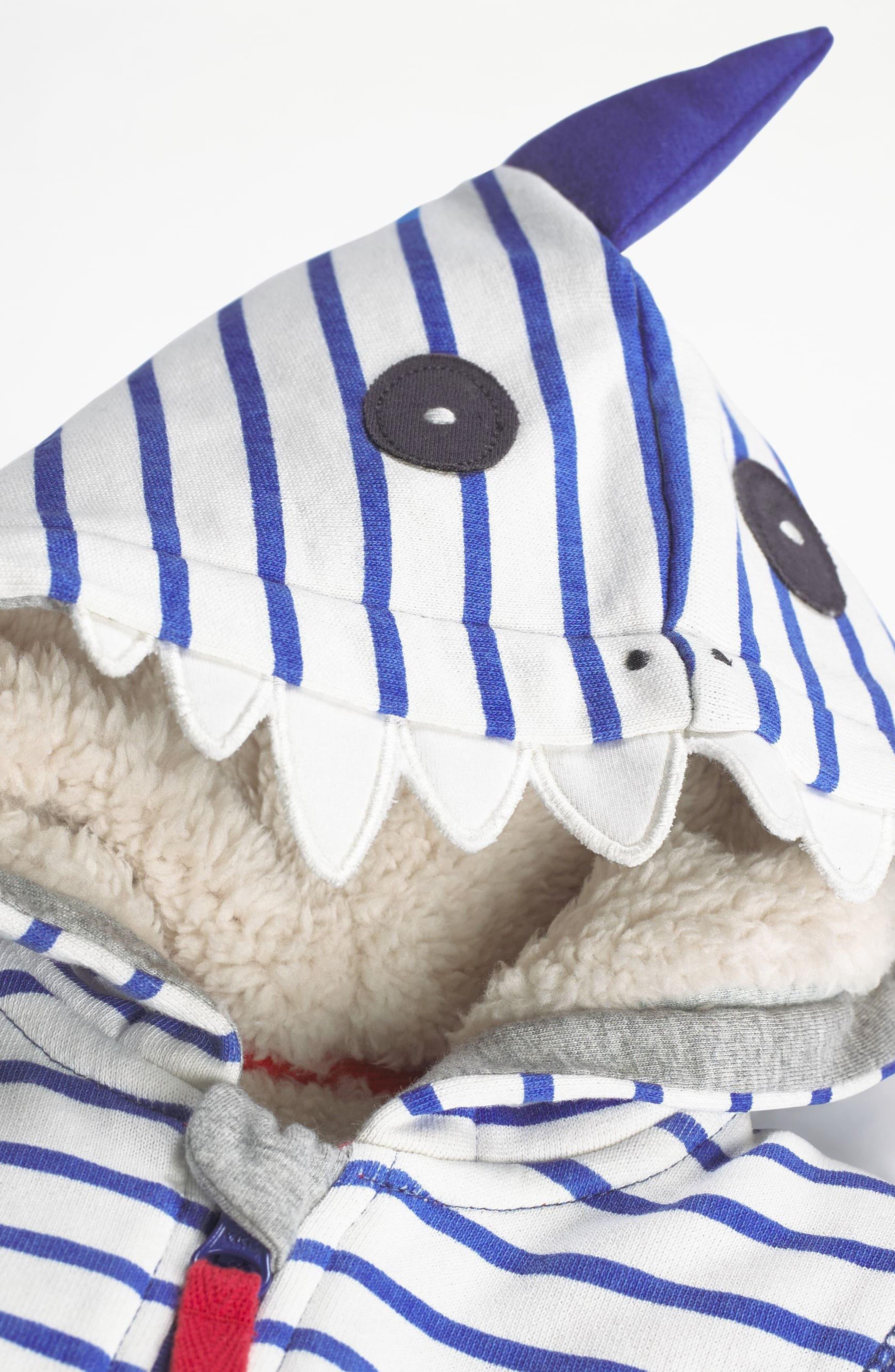 Dinosaur Zip Hoodie,                             Alternate thumbnail 3, color,                             Ecru/ Penzance Blue