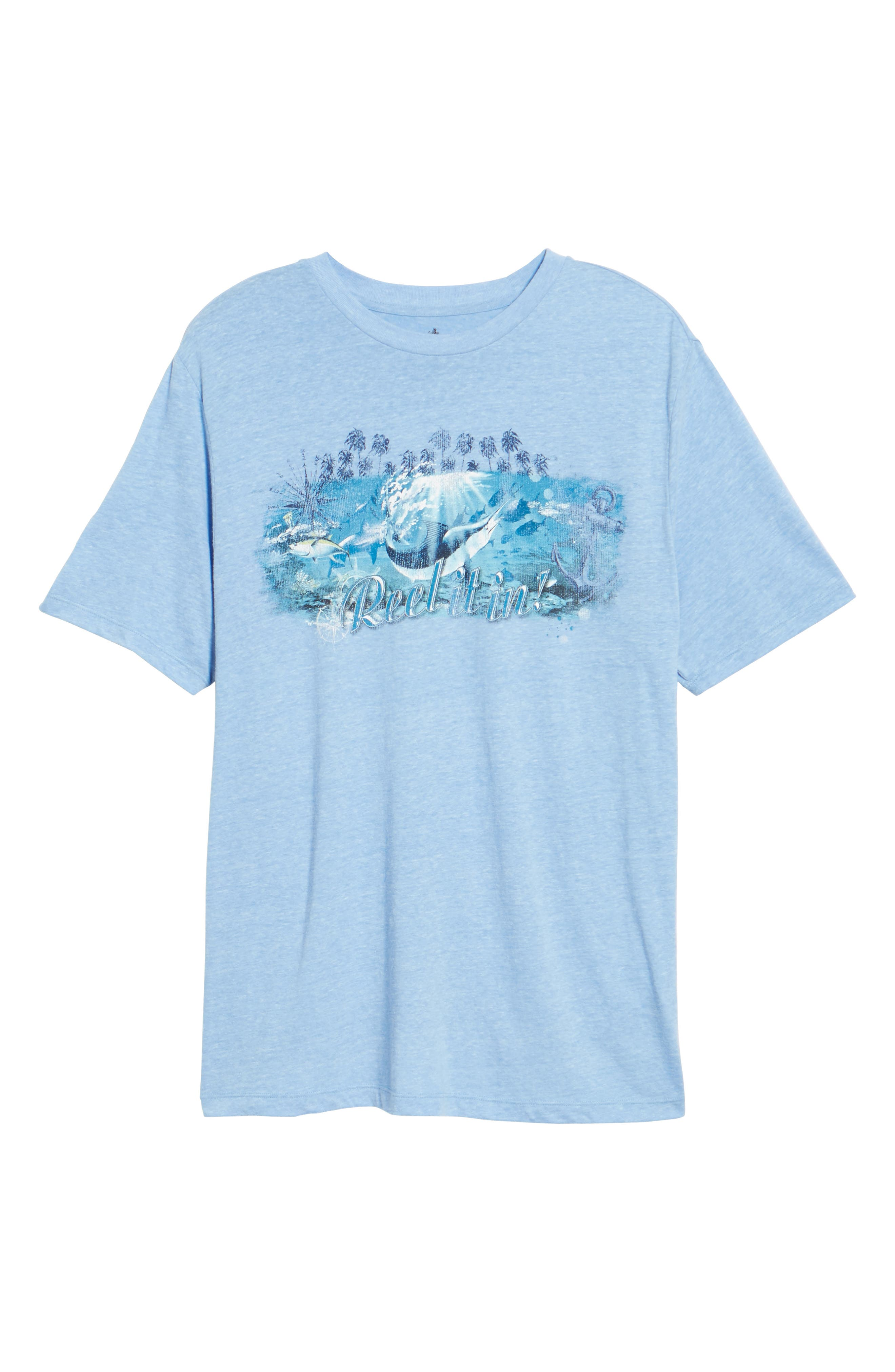 Reel Life Graphic T-Shirt,                             Alternate thumbnail 6, color,                             Dusty Blue