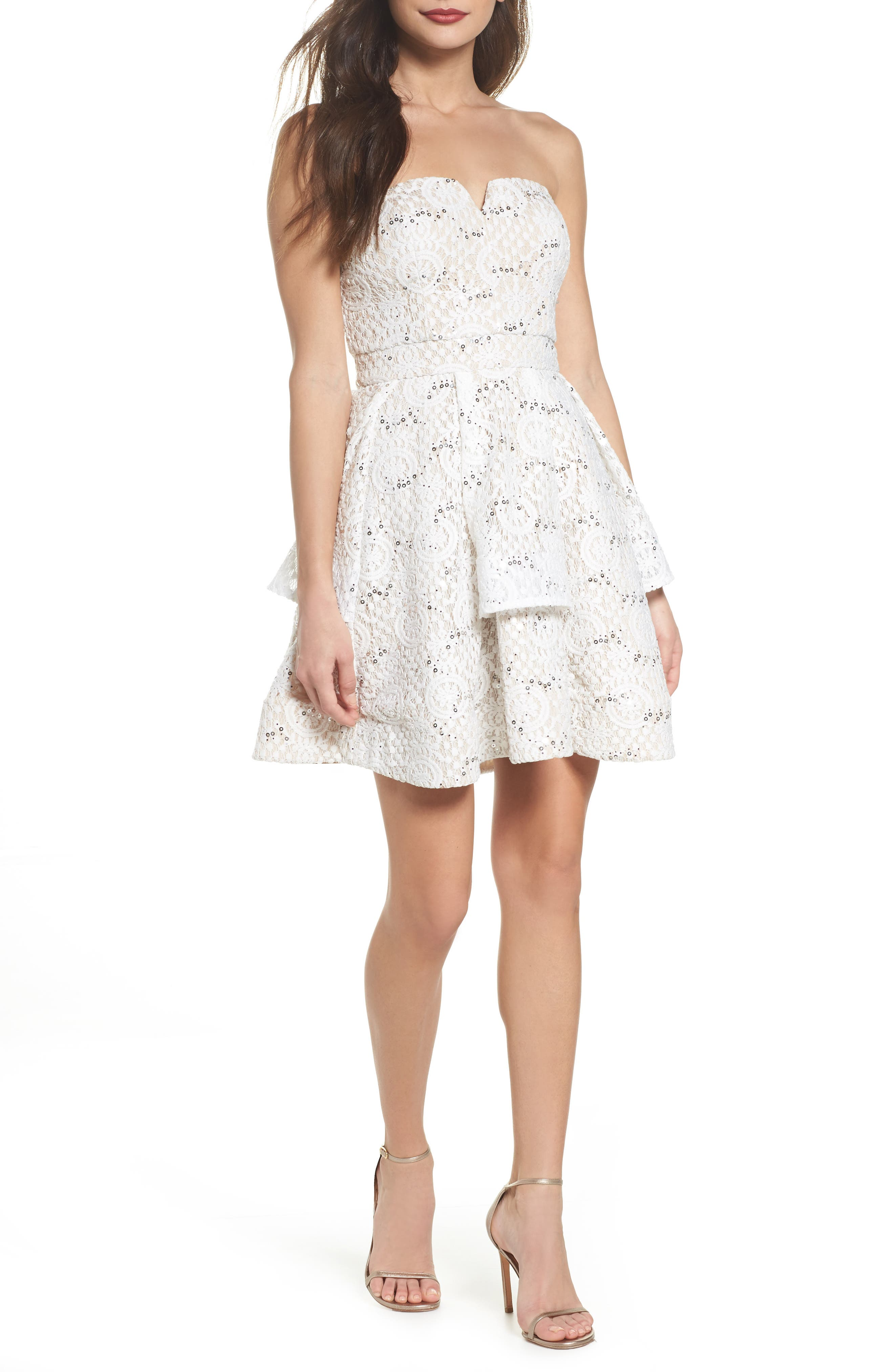 Main Image - Sequin Hearts Strapless Sequin Lace Dress
