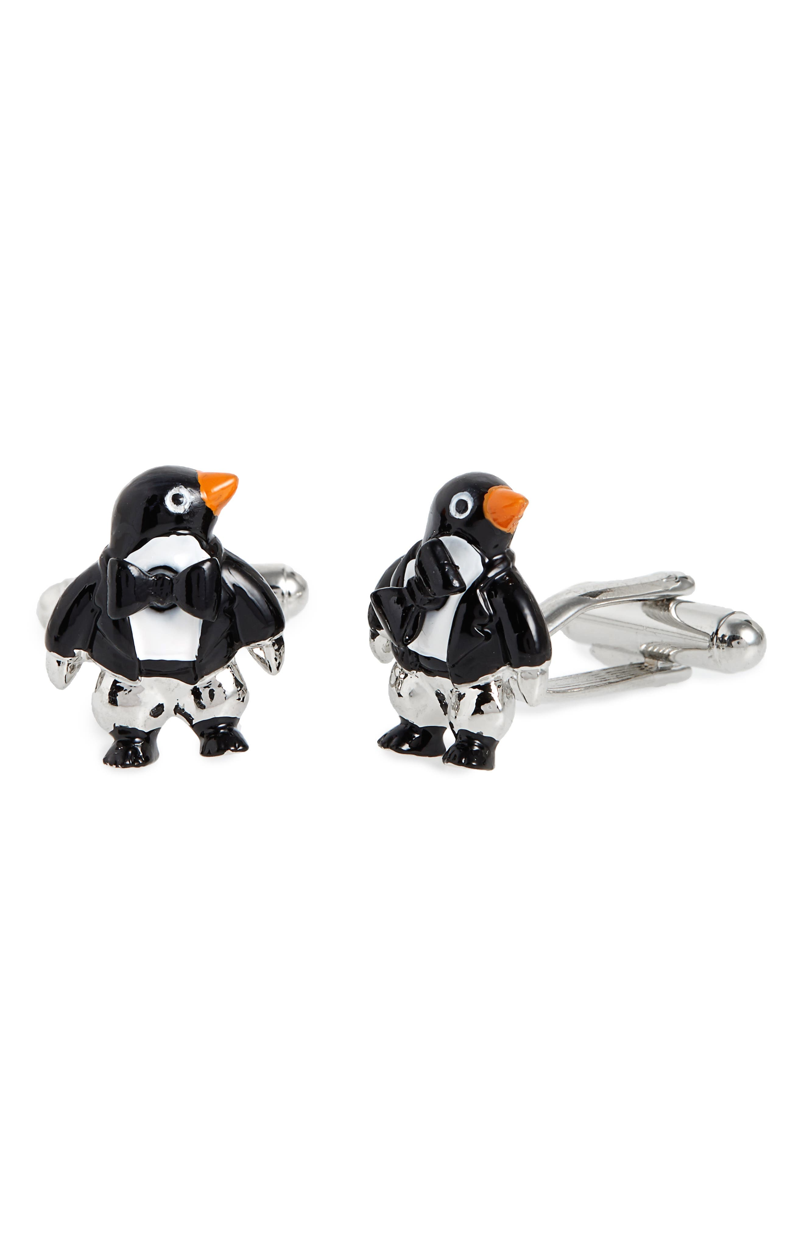 Penguin Cuff Links,                         Main,                         color, Black