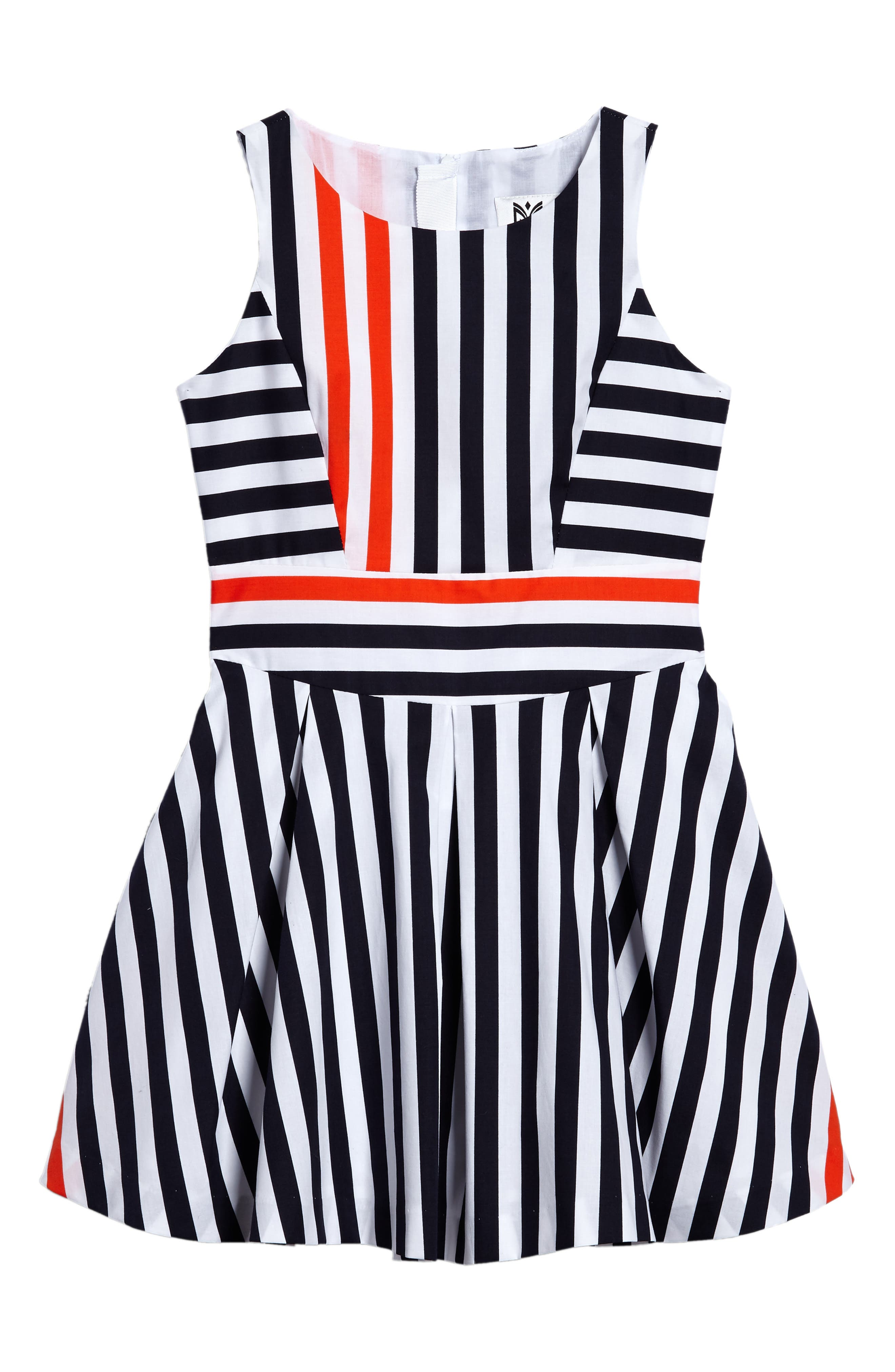 Main Image - Milly Minis Stripe Fit & Flare Dress (Big Girls)