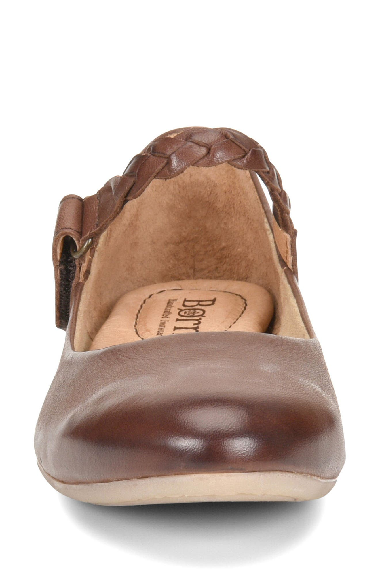 Mary Jane Flat,                             Alternate thumbnail 4, color,                             Brown Leather