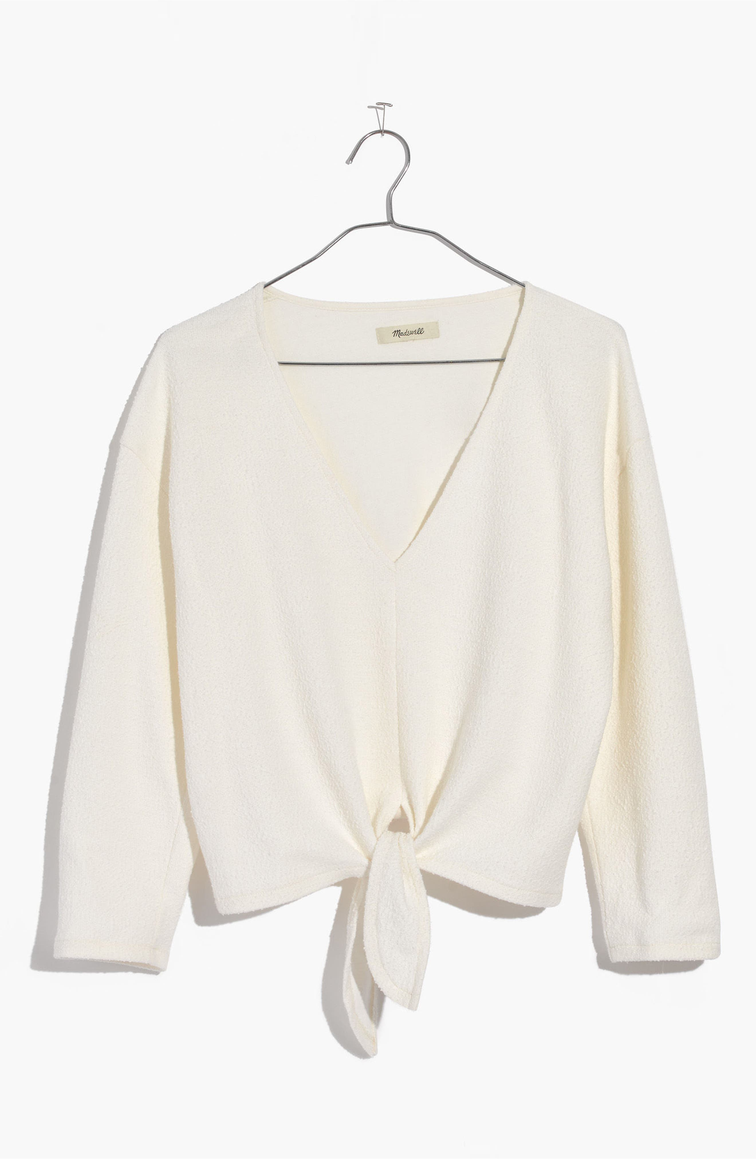 Textured Tie Front Top,                             Alternate thumbnail 3, color,                             Bright Ivory