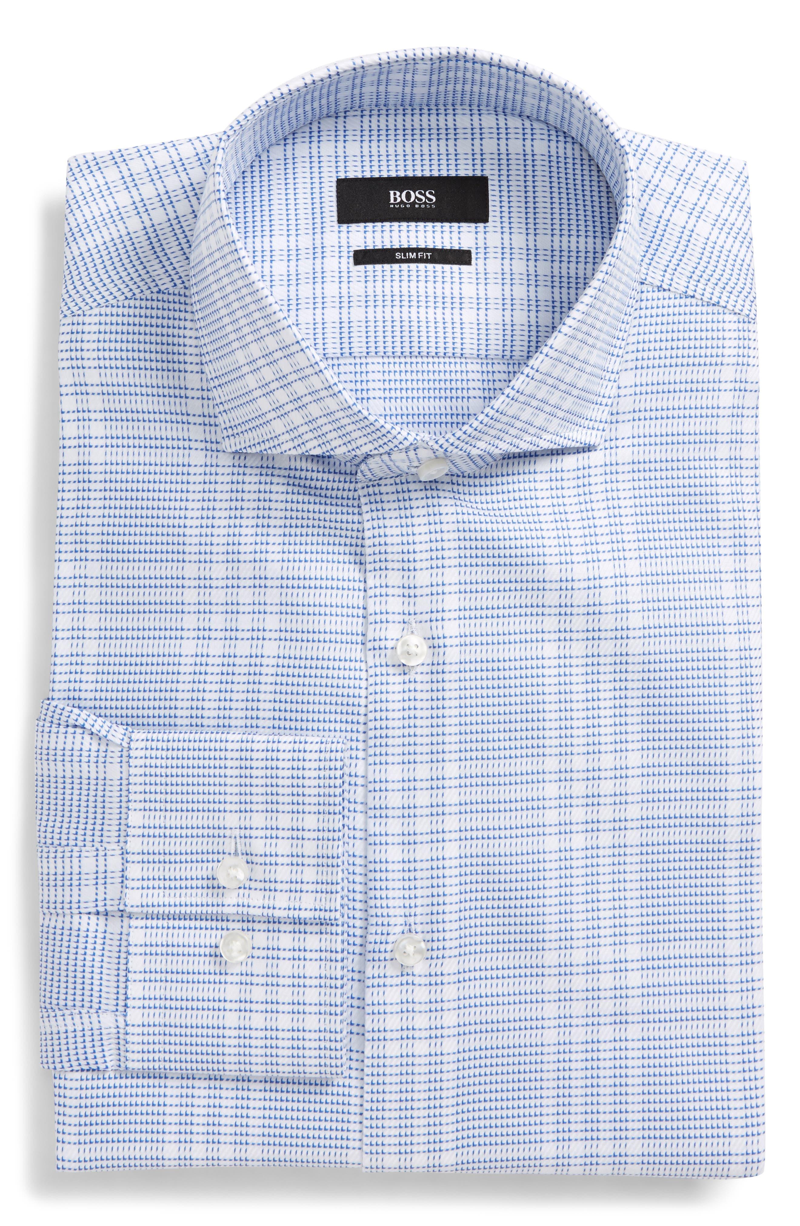Slim Fit Easy Iron Plaid Dress Shirt,                         Main,                         color, Blue