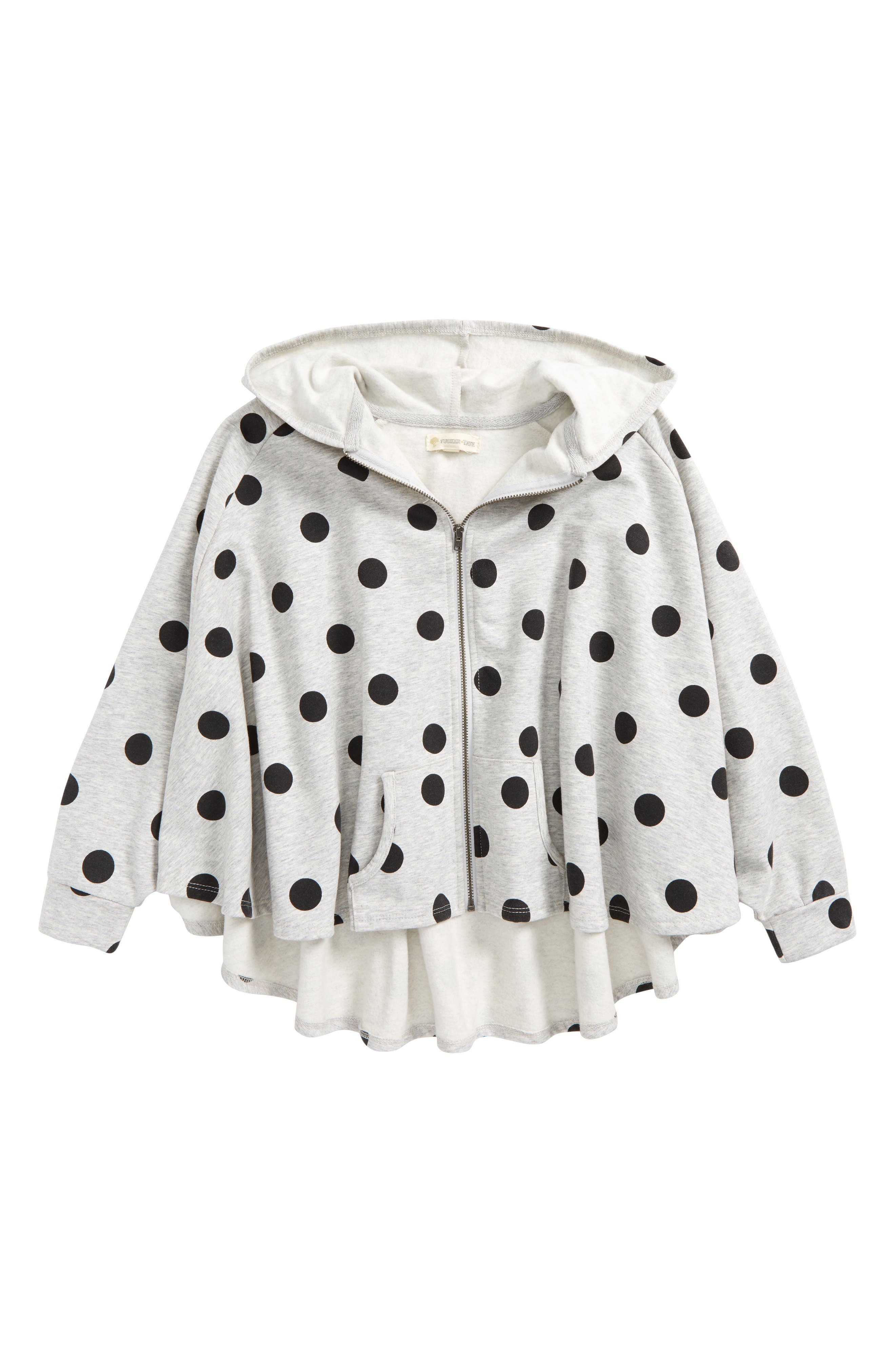 Polka Dot Hooded Cape,                         Main,                         color, Grey Ash Heather Girly Dot