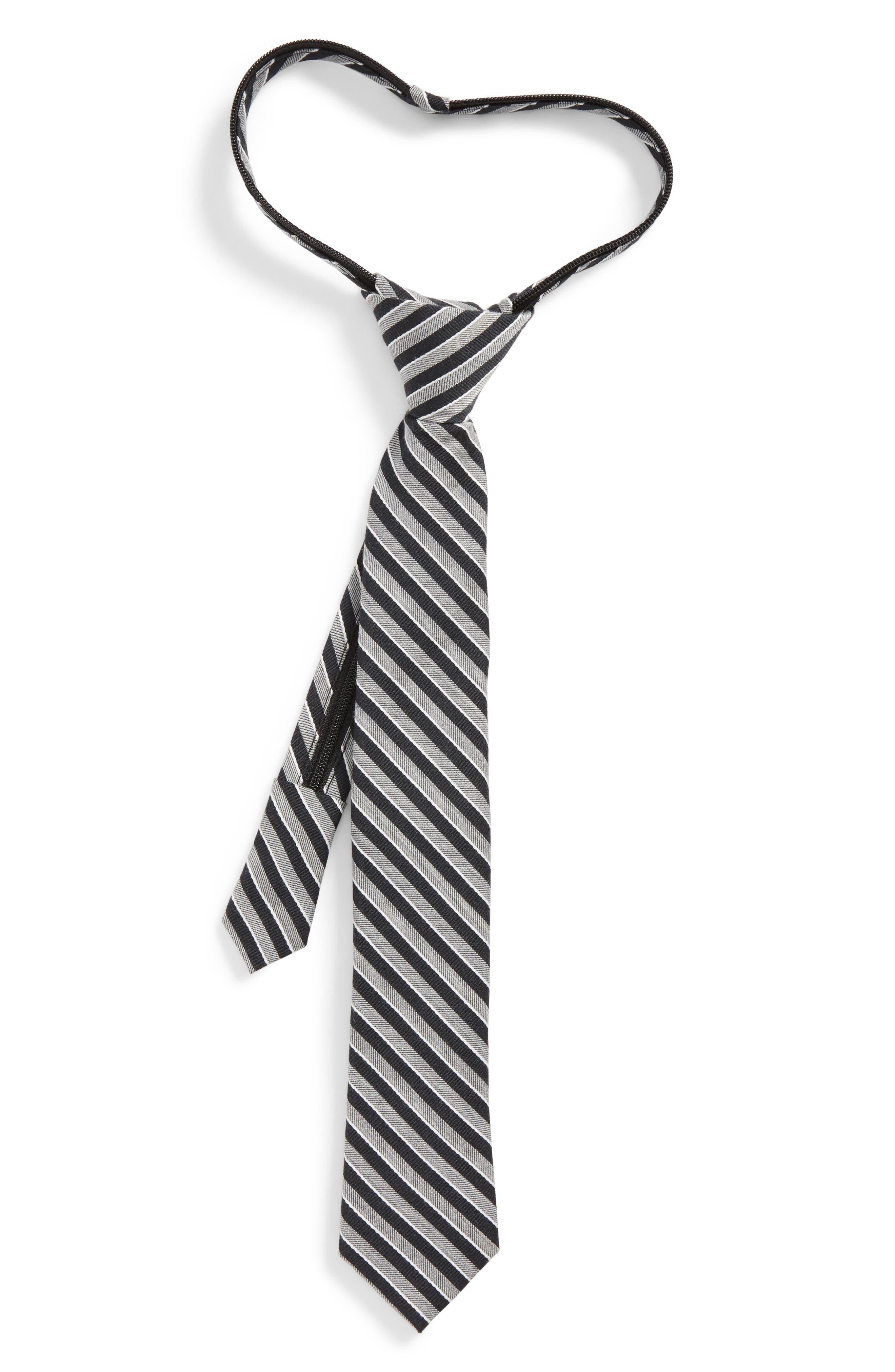 Nordstrom Stripe Silk Zip Tie (Little Boys)