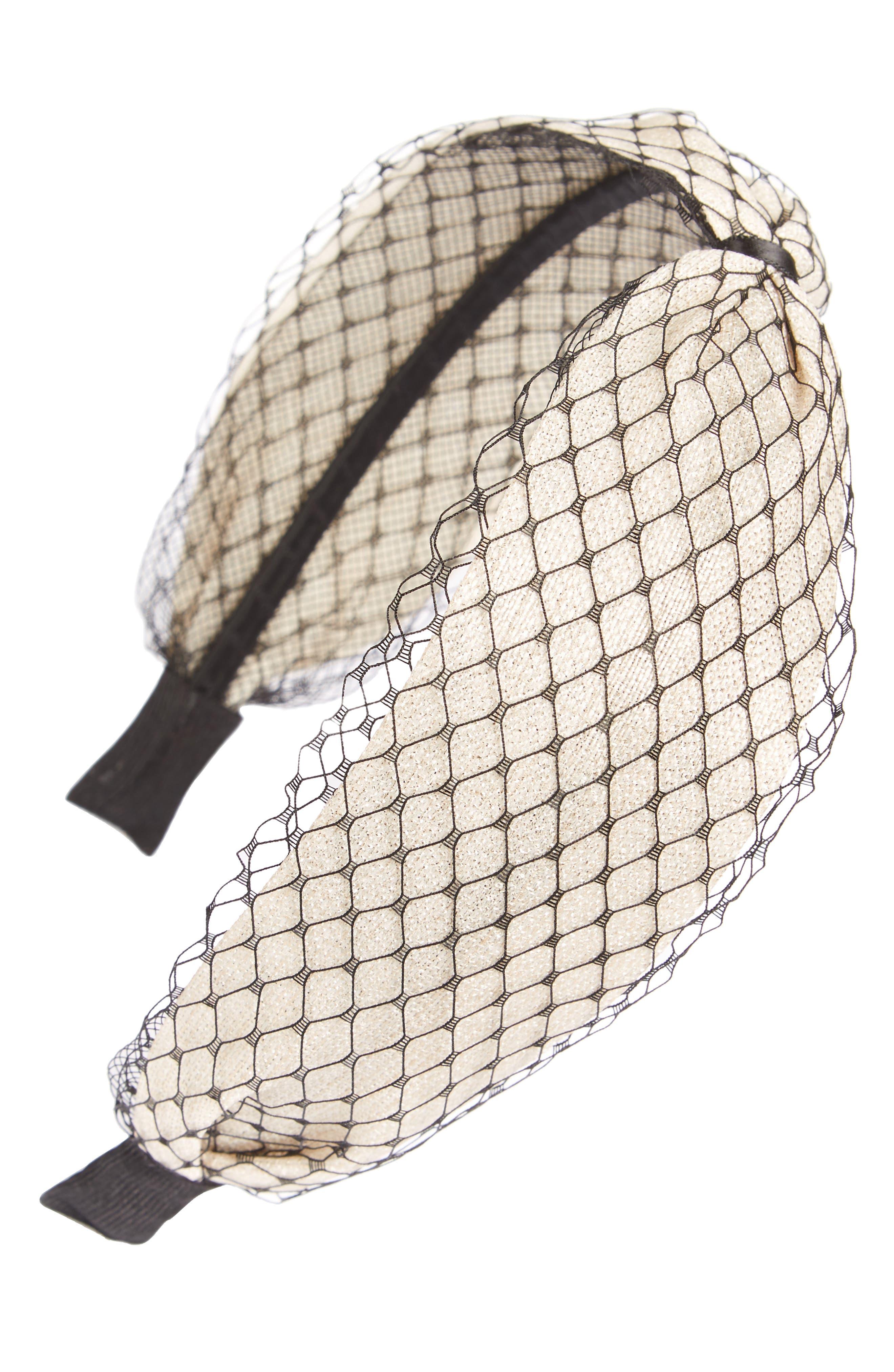 Mesh Headband,                         Main,                         color, Ivory