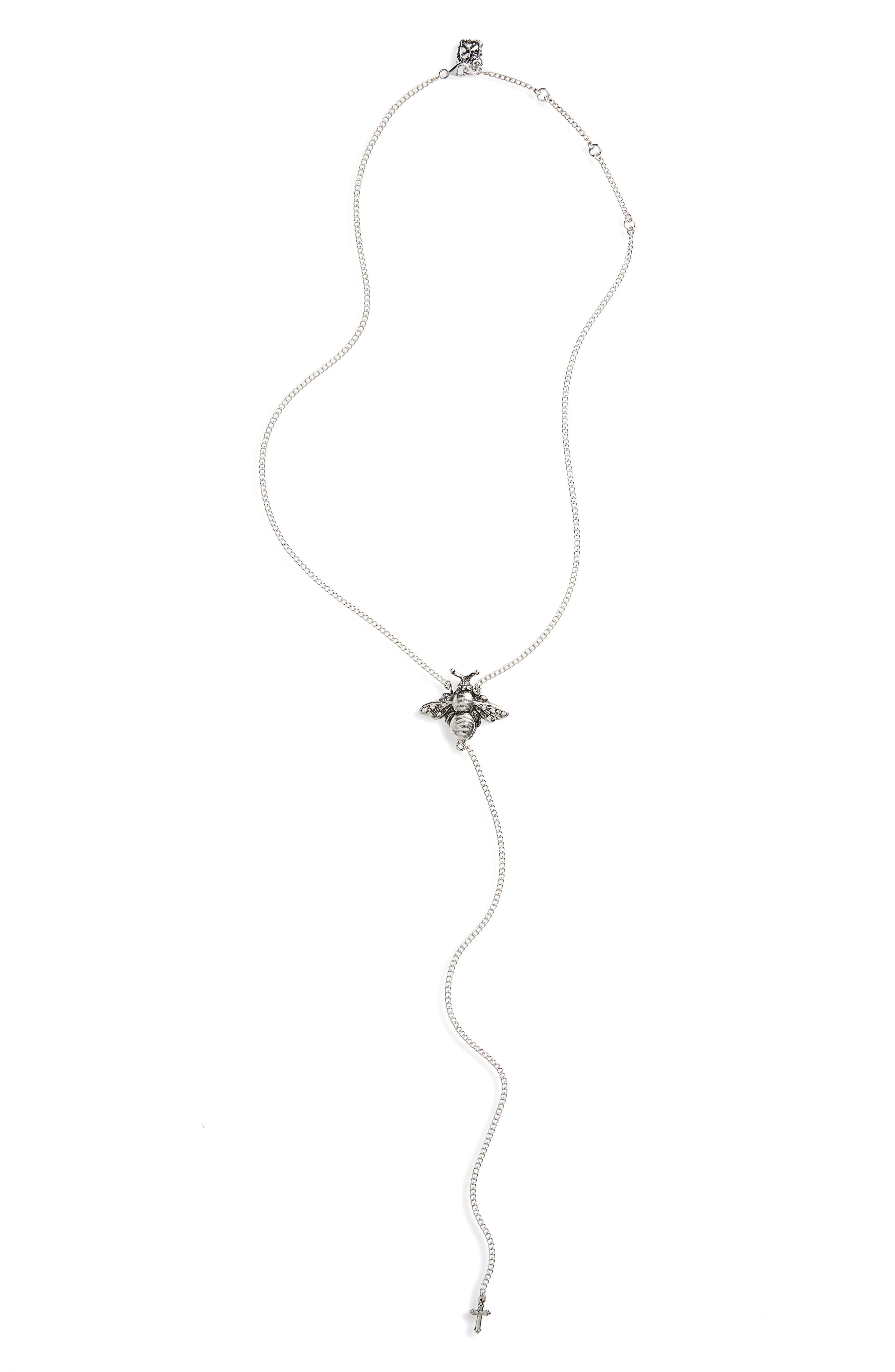 Bee Mine Y-Necklace,                             Main thumbnail 1, color,                             Silver