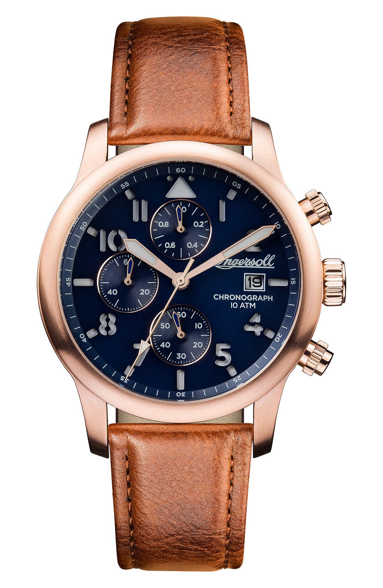 Ingersoll Hatton Chronograph Leather Strap Watch, 46mm,                             Main thumbnail 1, color,                             Brown/ Blue/ Rose Gold