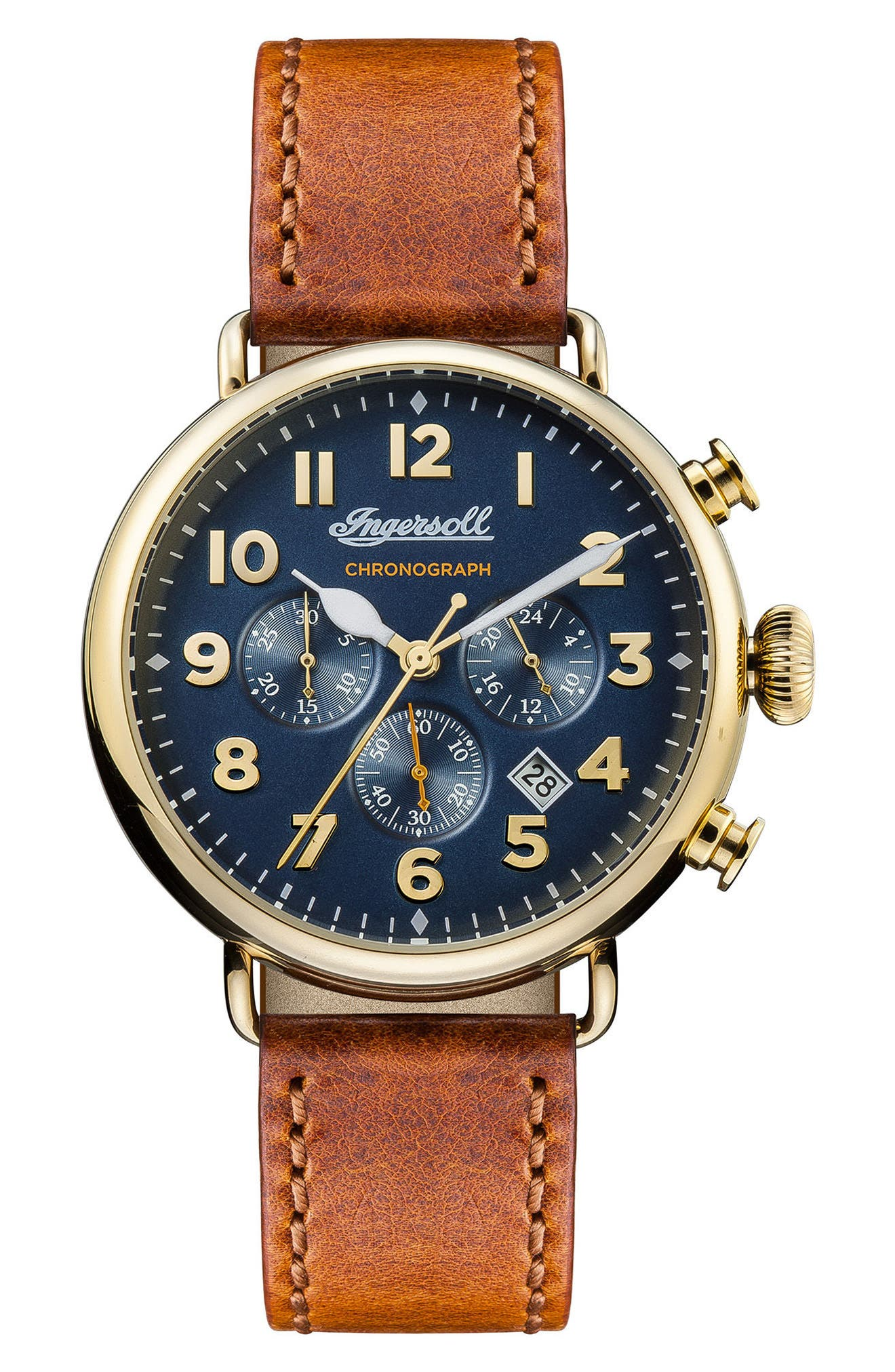 Ingersoll Trenton Chronograph Leather Strap Watch, 44mm,                         Main,                         color, Tan/ Blue/ Gold