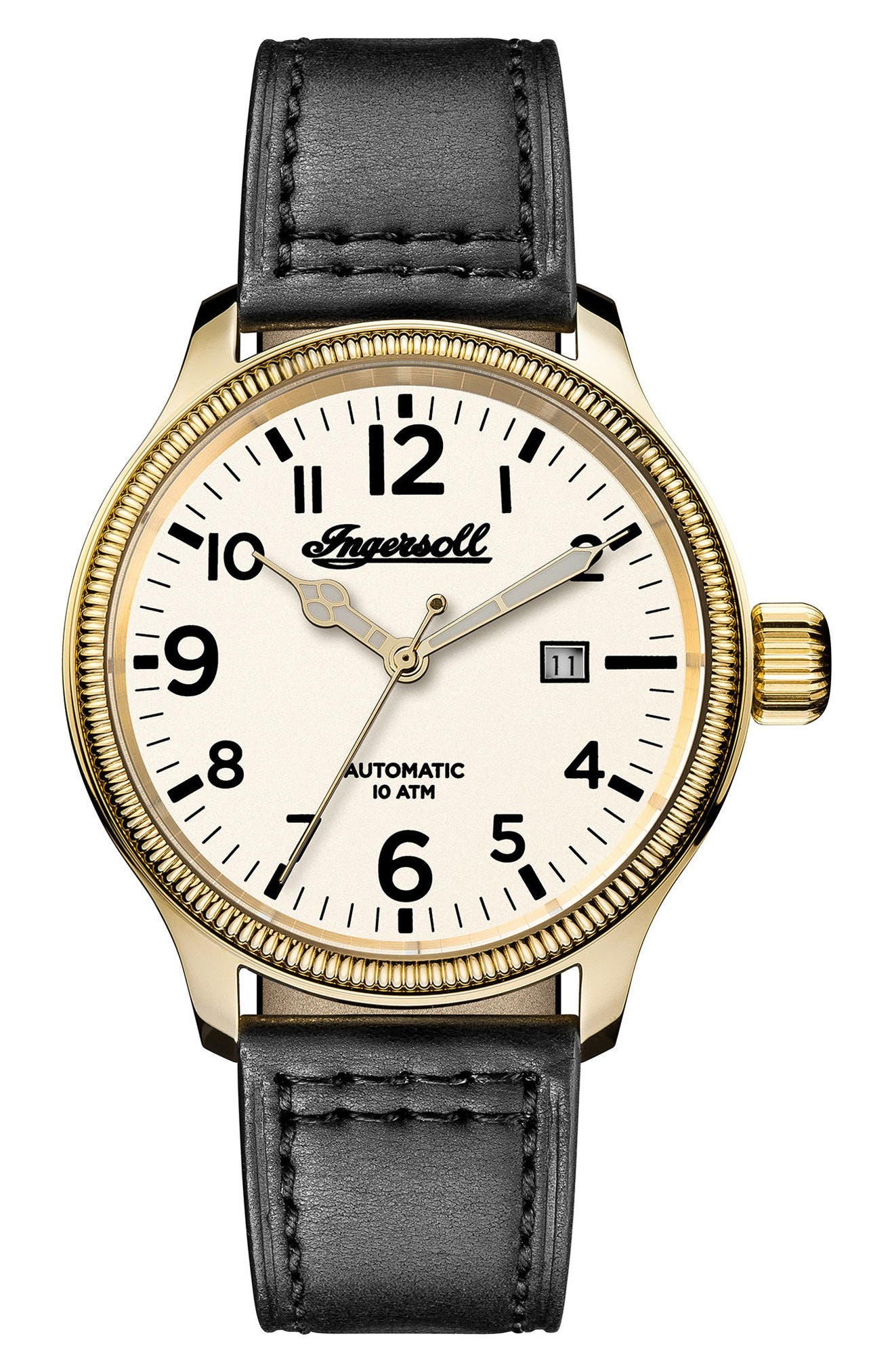 Main Image - Ingersoll Apsley Automatic Leather Strap Watch, 45mm