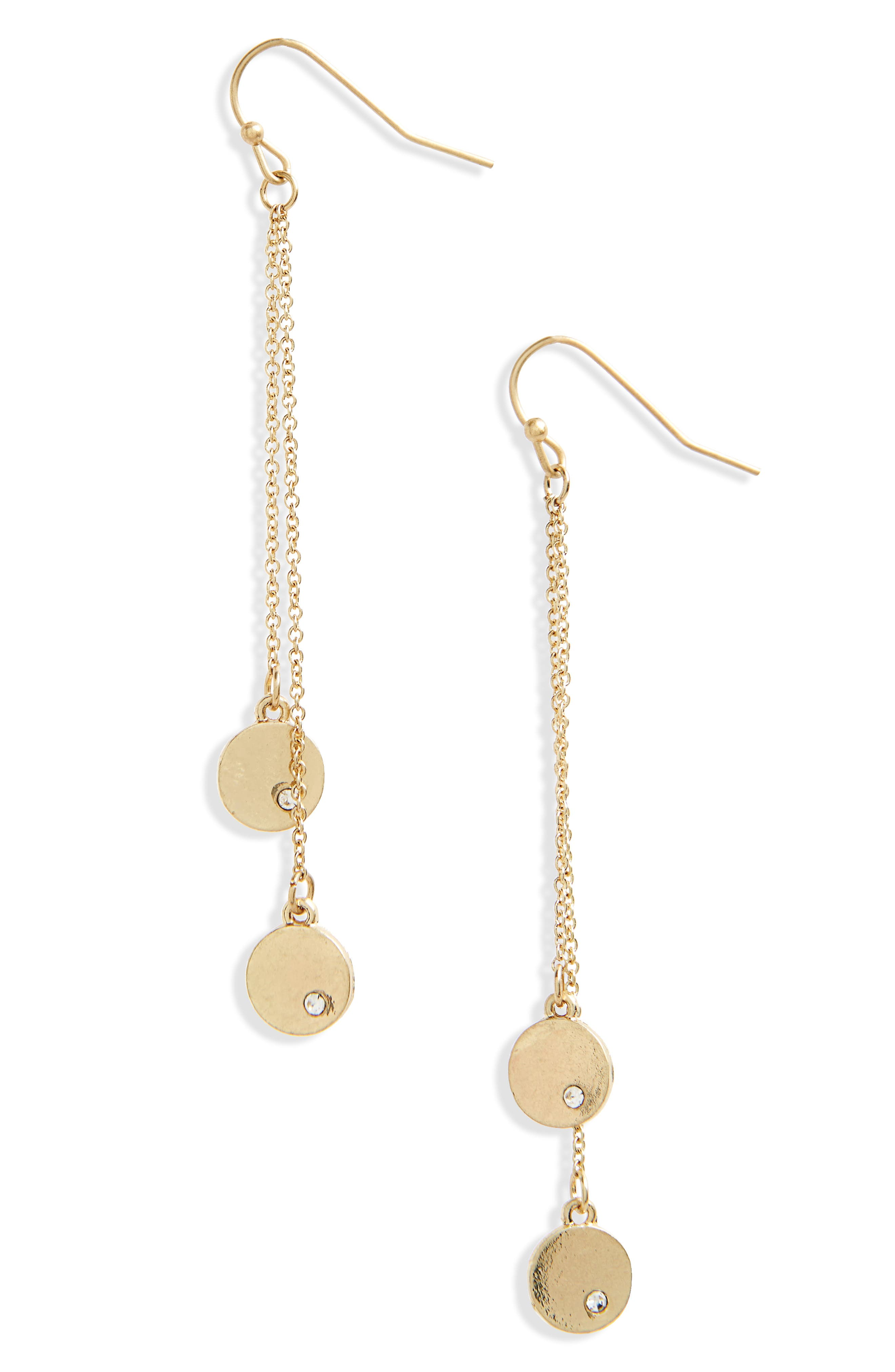 Linear Disc Earrings,                         Main,                         color, Gold