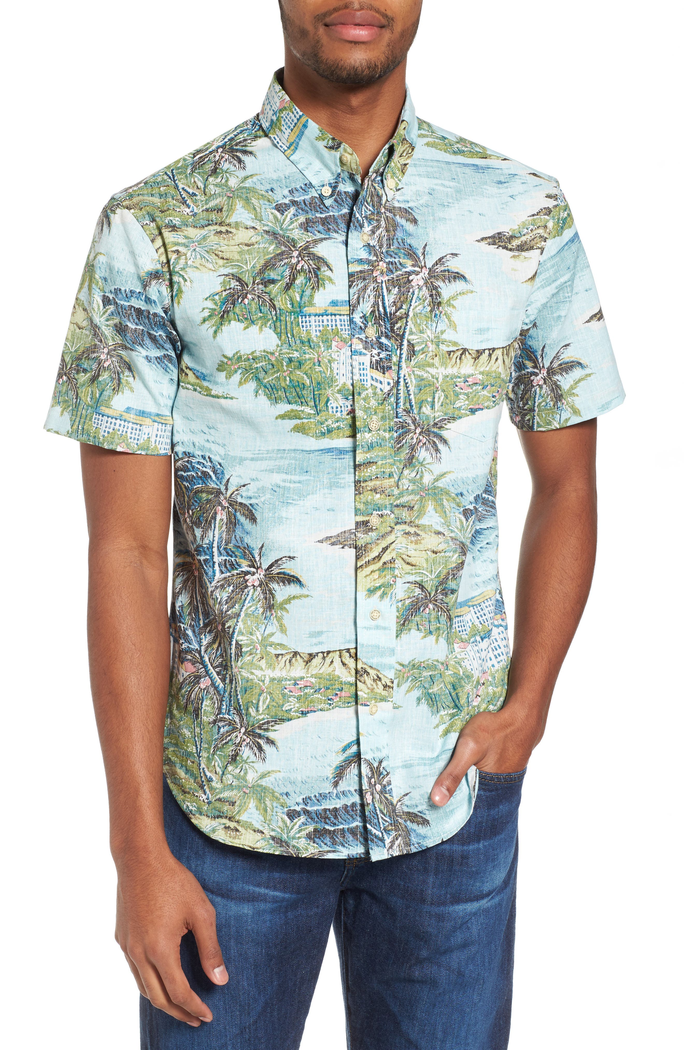 Diamond Head Classic Fit Print Sport Shirt,                             Main thumbnail 1, color,                             Pale Blue