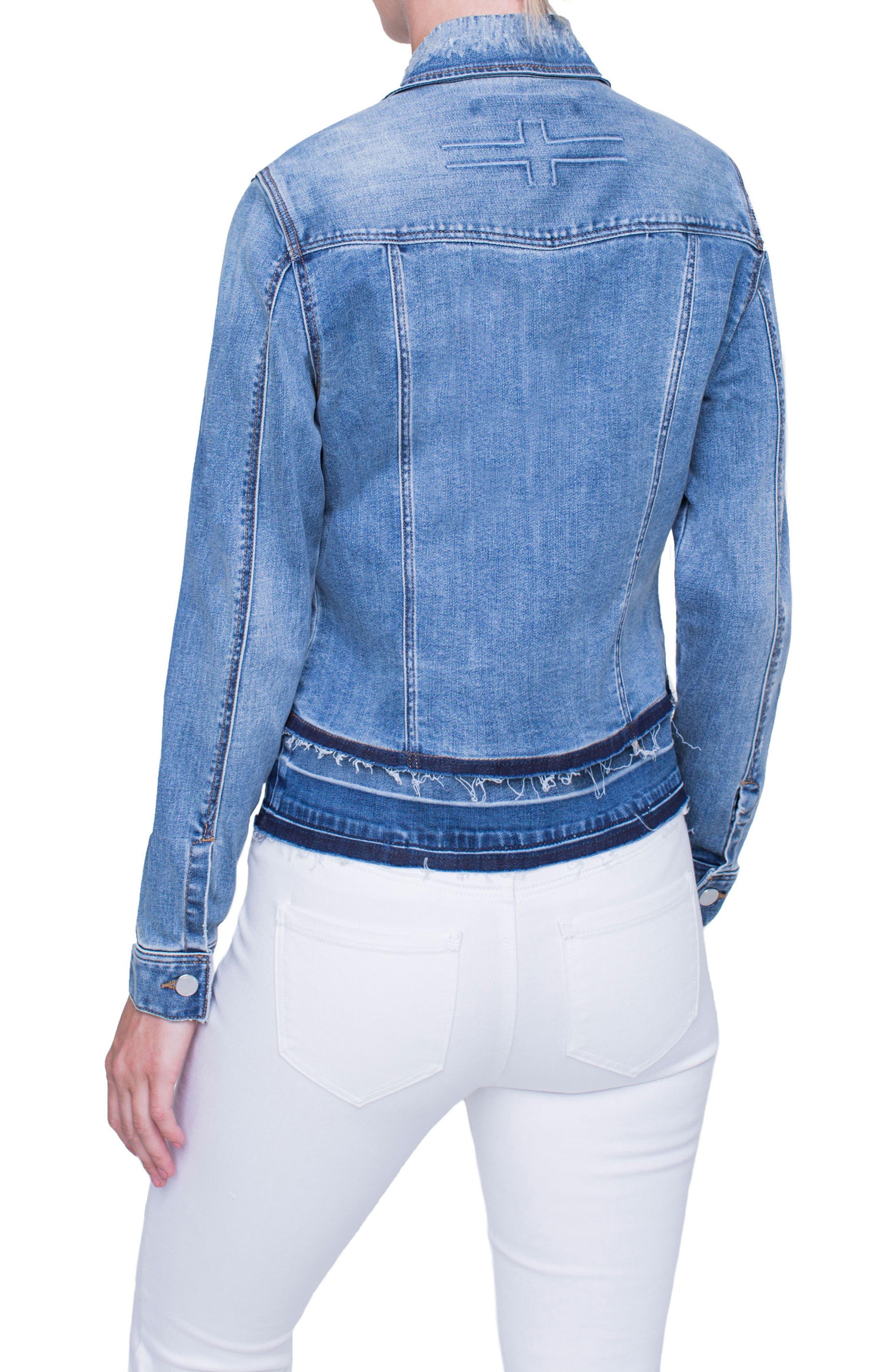 Tiered Hem Denim Jacket,                             Alternate thumbnail 3, color,                             Blue