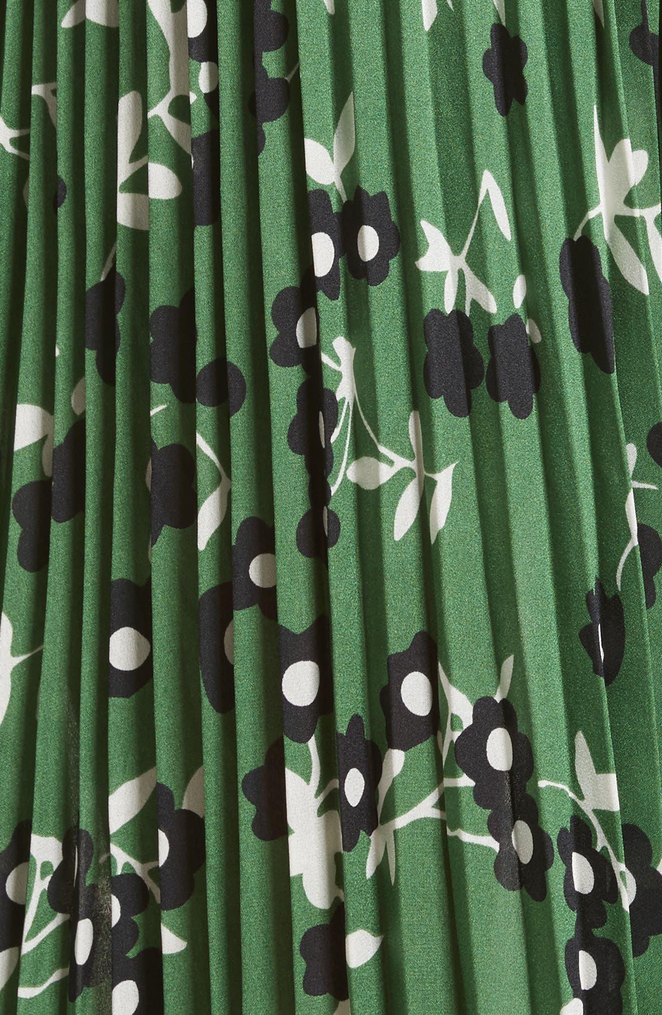 Floral Print Cold Shoulder Dress,                             Alternate thumbnail 5, color,                             Green