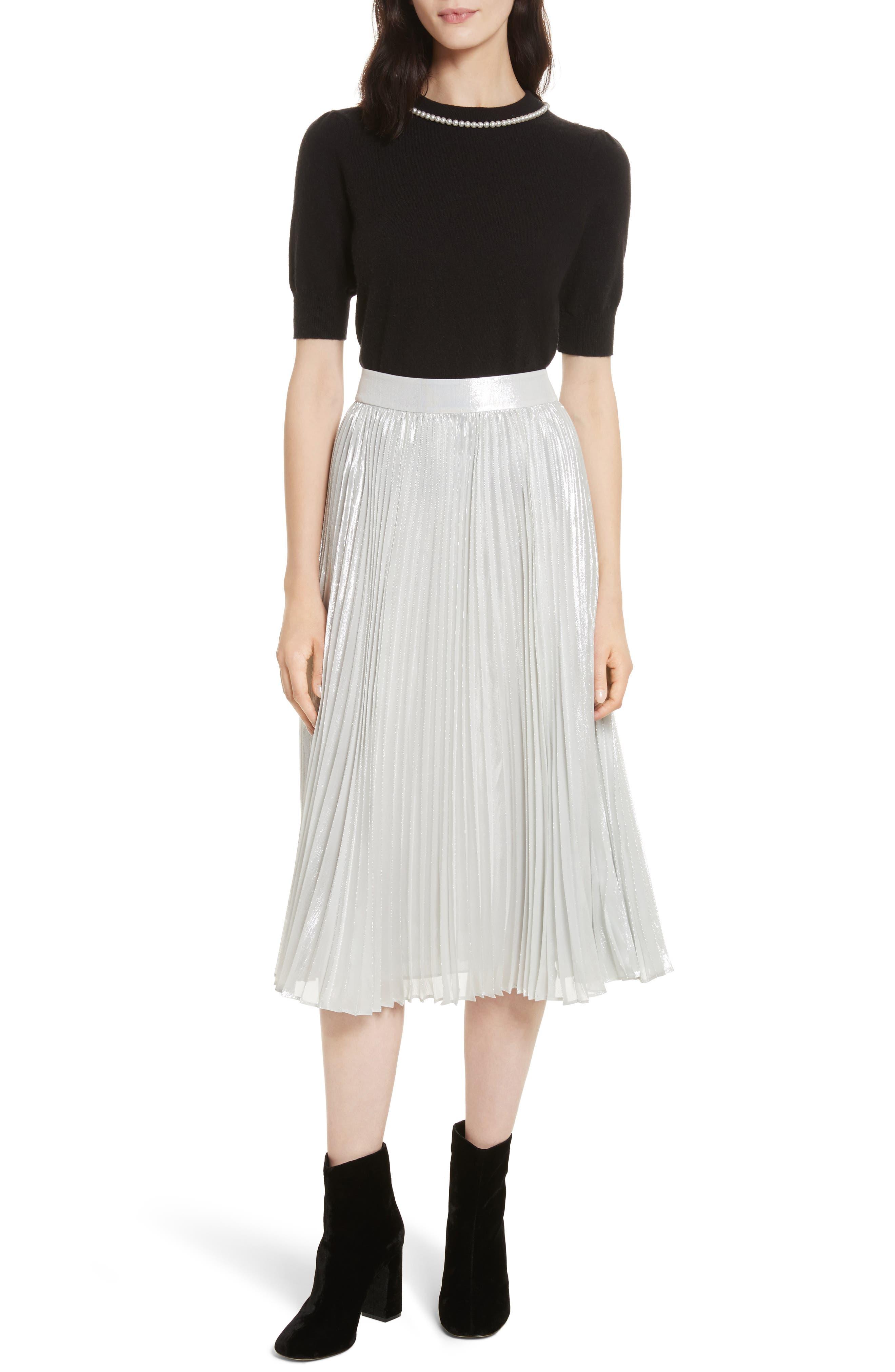 metallic pleat midi skirt,                             Alternate thumbnail 7, color,                             Silver