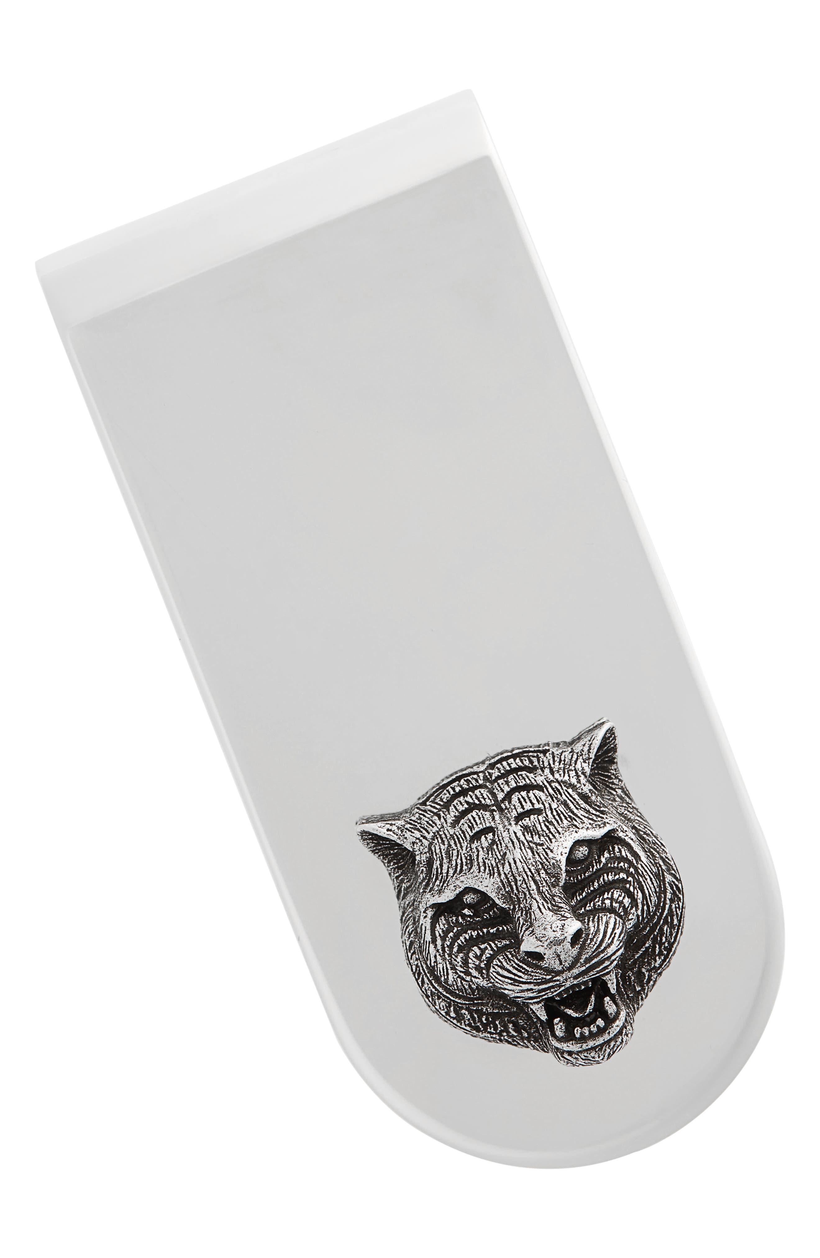 Cat Insignia Money Clip,                         Main,                         color, Silver