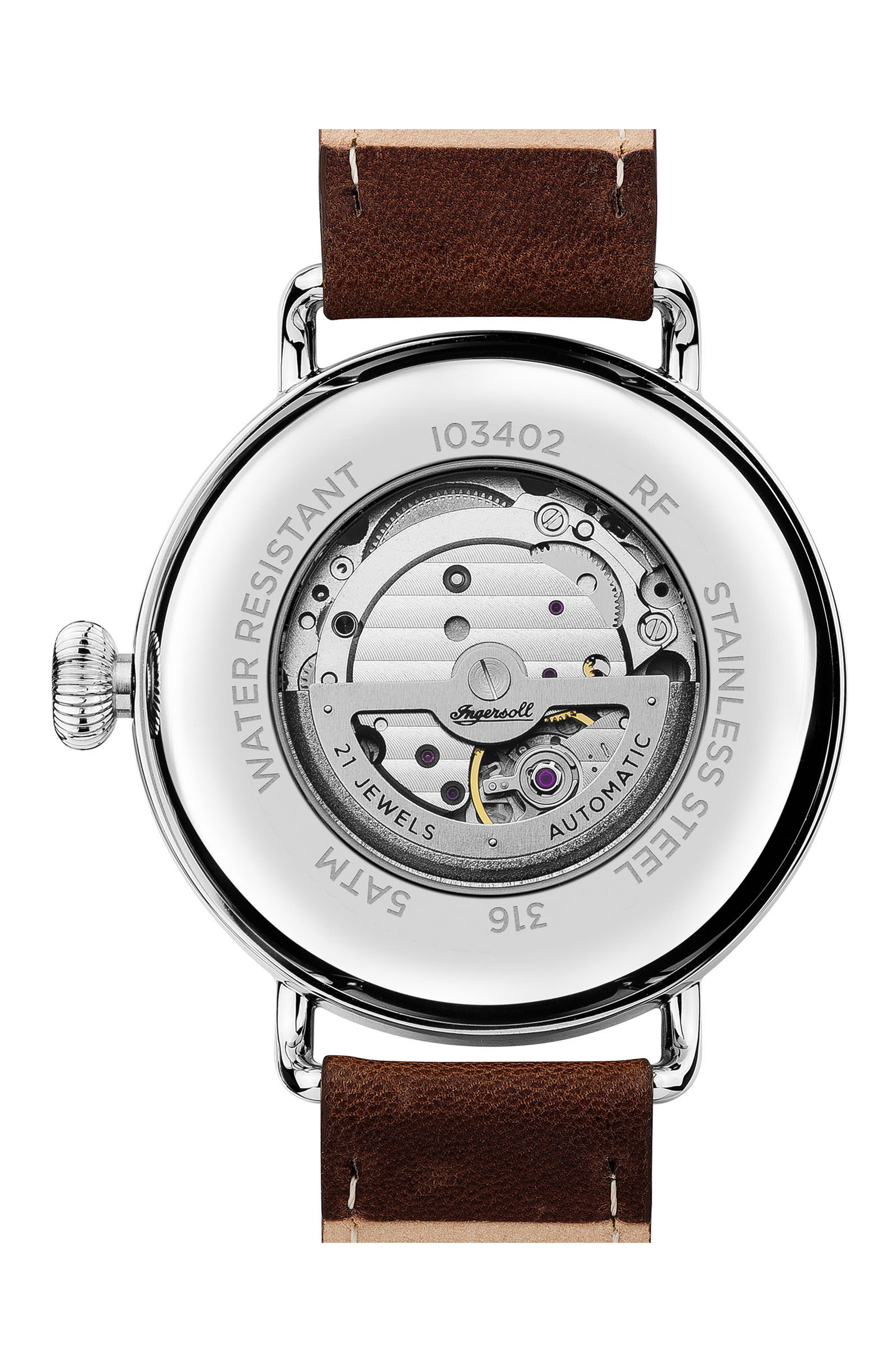 Ingersoll Trenton Automatic Leather Strap Watch, 44mm,                             Alternate thumbnail 2, color,                             Brown/ Beige/ Silver