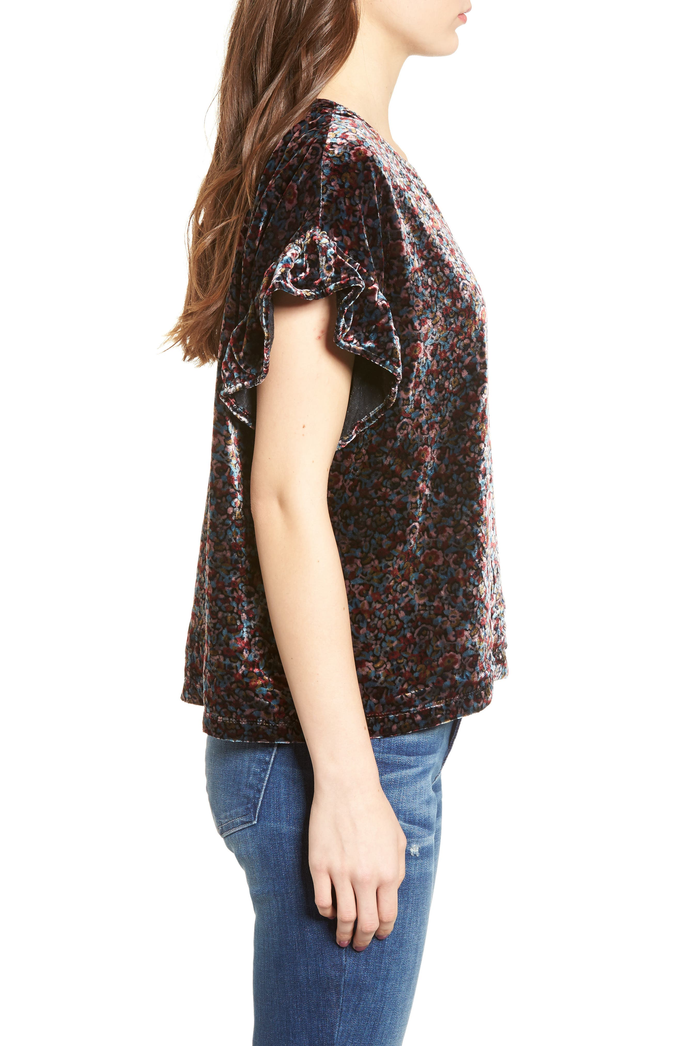 The Janie Velvet Top,                             Alternate thumbnail 3, color,                             Floral Velvet