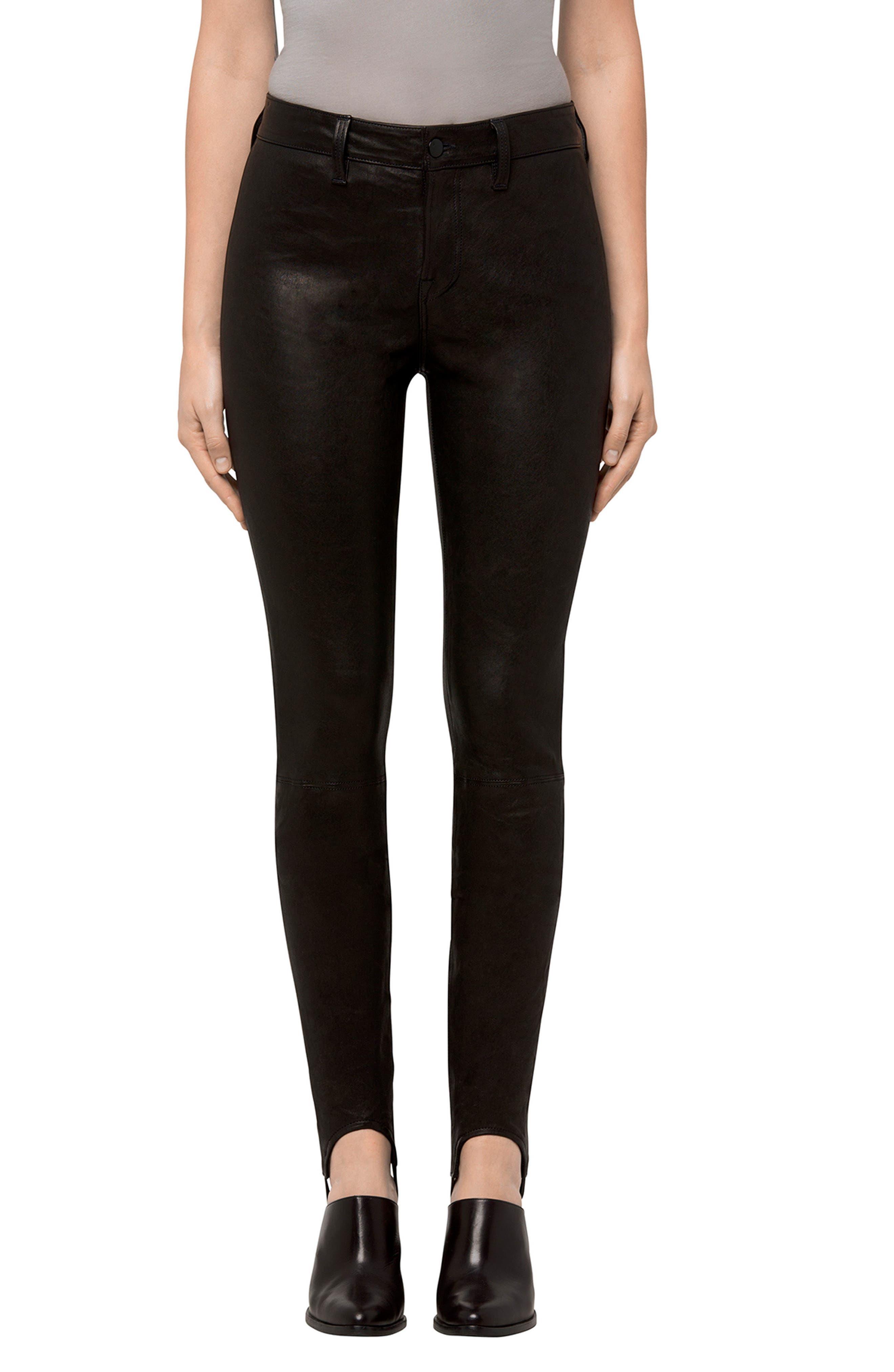 Maria Leather Stirrup Leggings,                         Main,                         color, Black