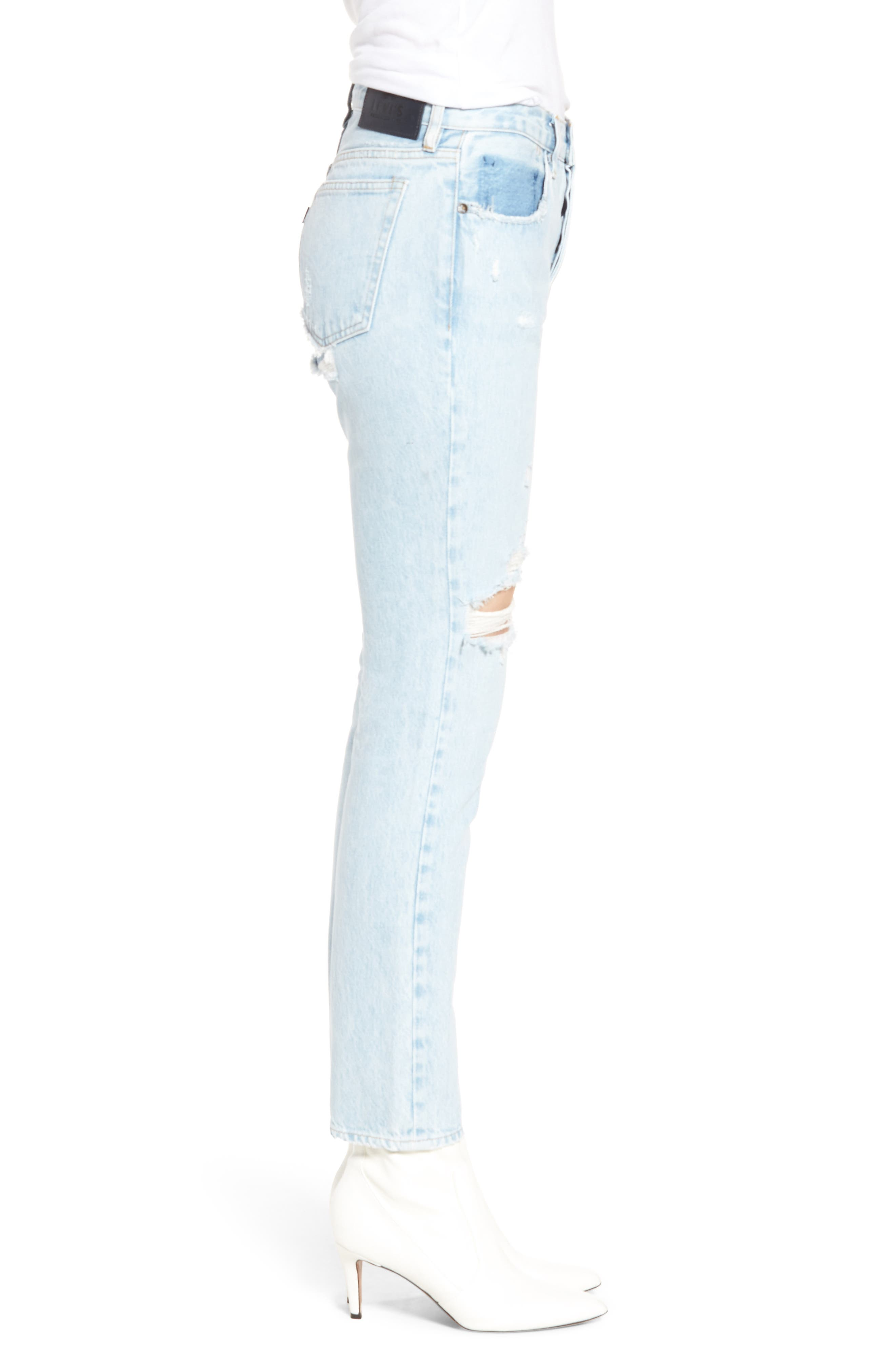 Twig II High Waist Ankle Slim Jeans,                             Alternate thumbnail 4, color,                             Pipeline Blue