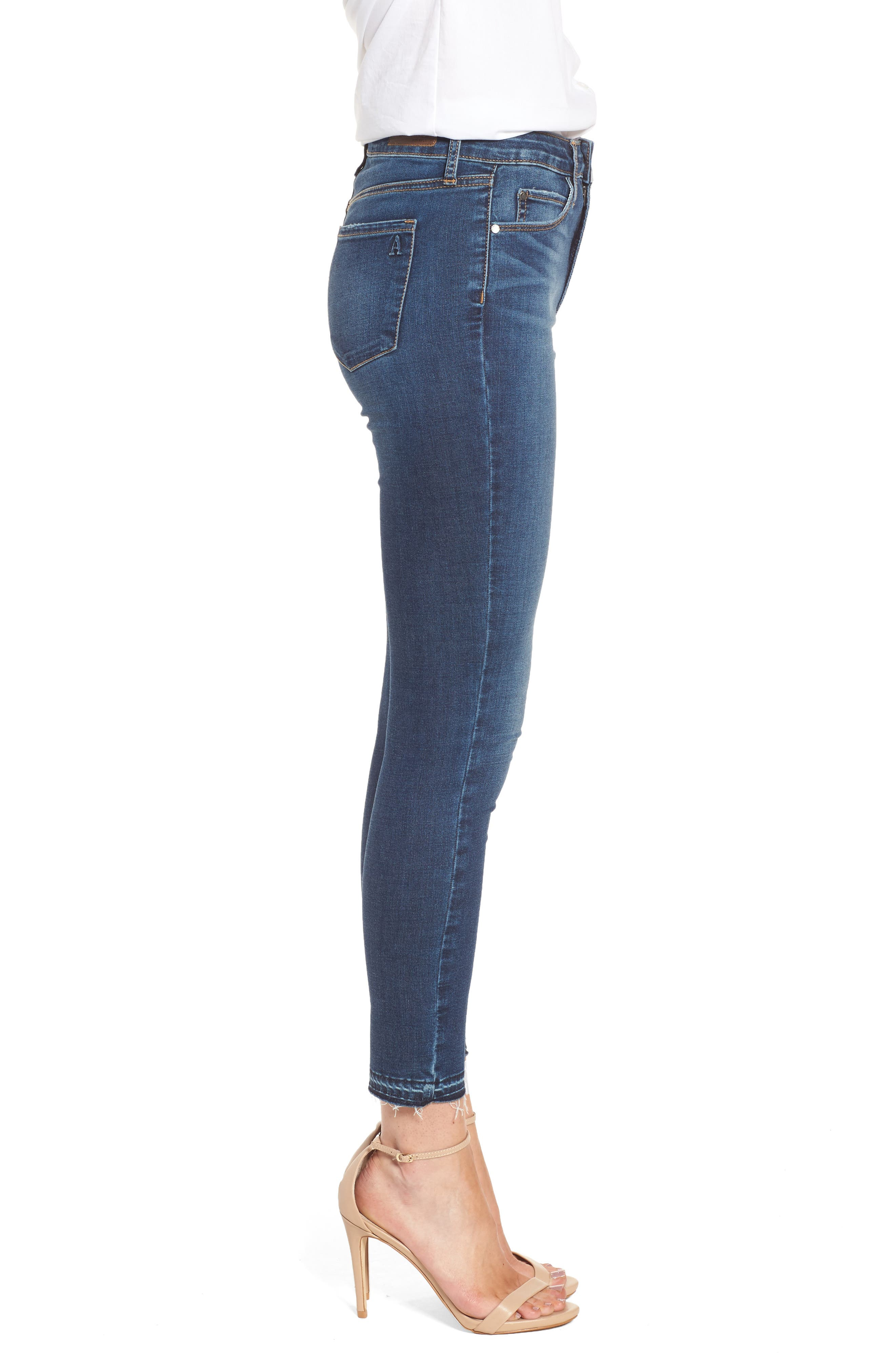 Heather High Waist Crop Skinny Jeans,                             Alternate thumbnail 3, color,                             Bilbao