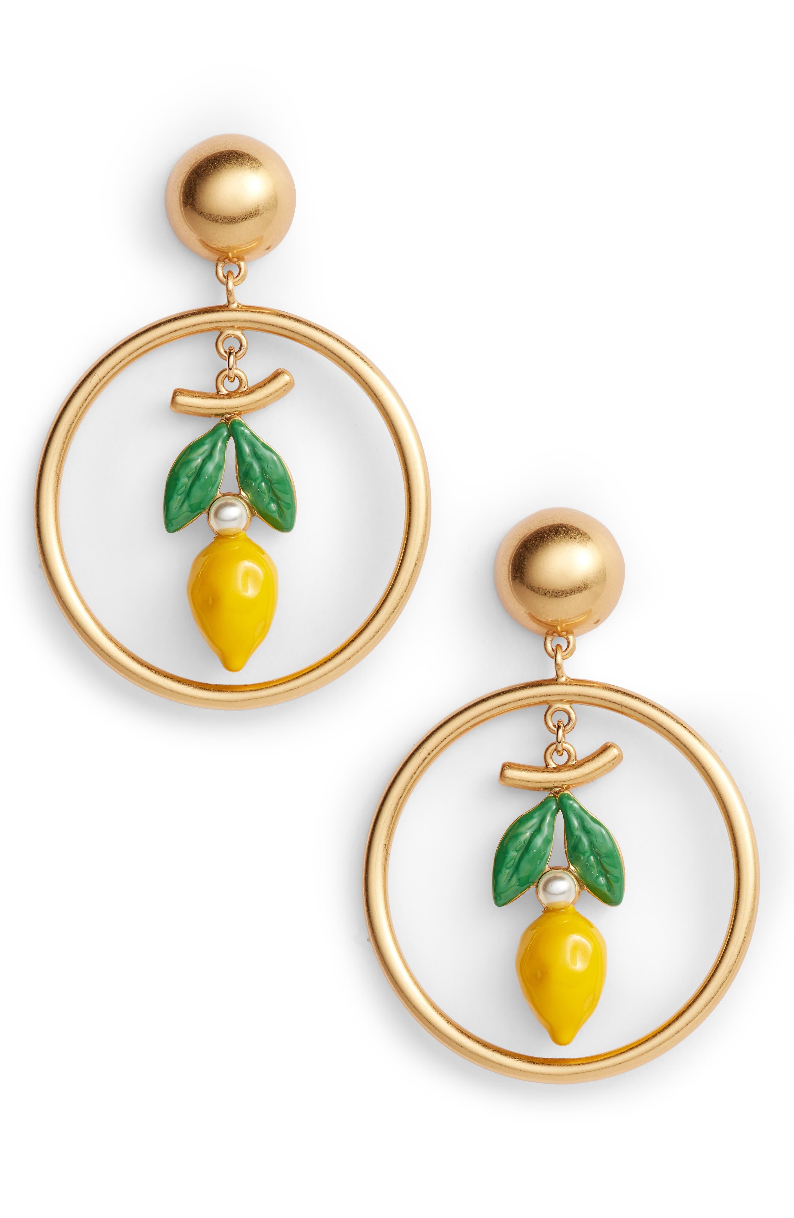 Lemon Hoop Drop Earrings,                         Main,                         color, Vintage Gold