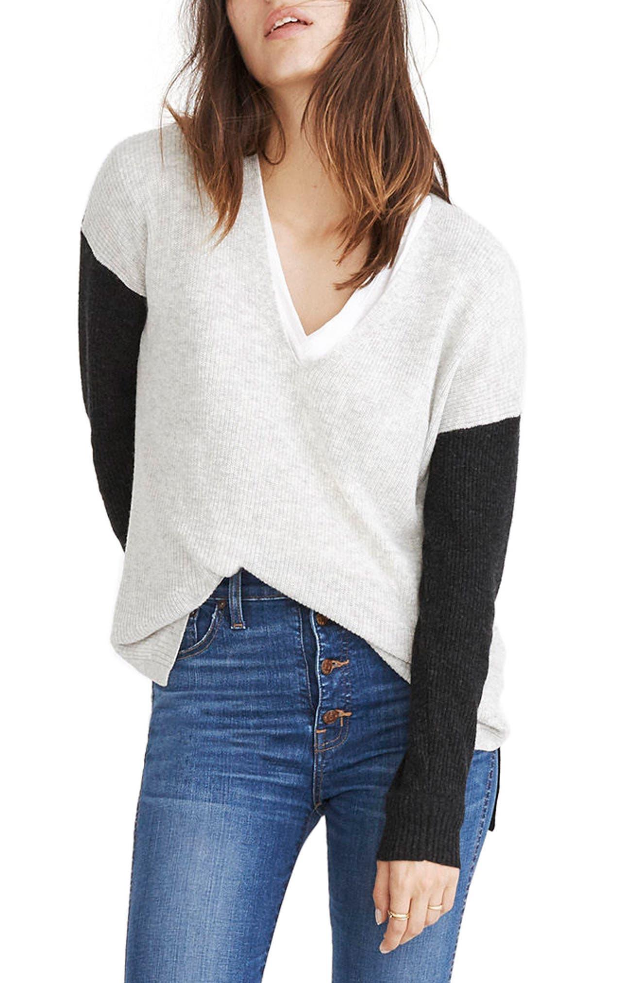 Warmlight Colorblock V-Neck Sweater,                         Main,                         color, Heather Fog