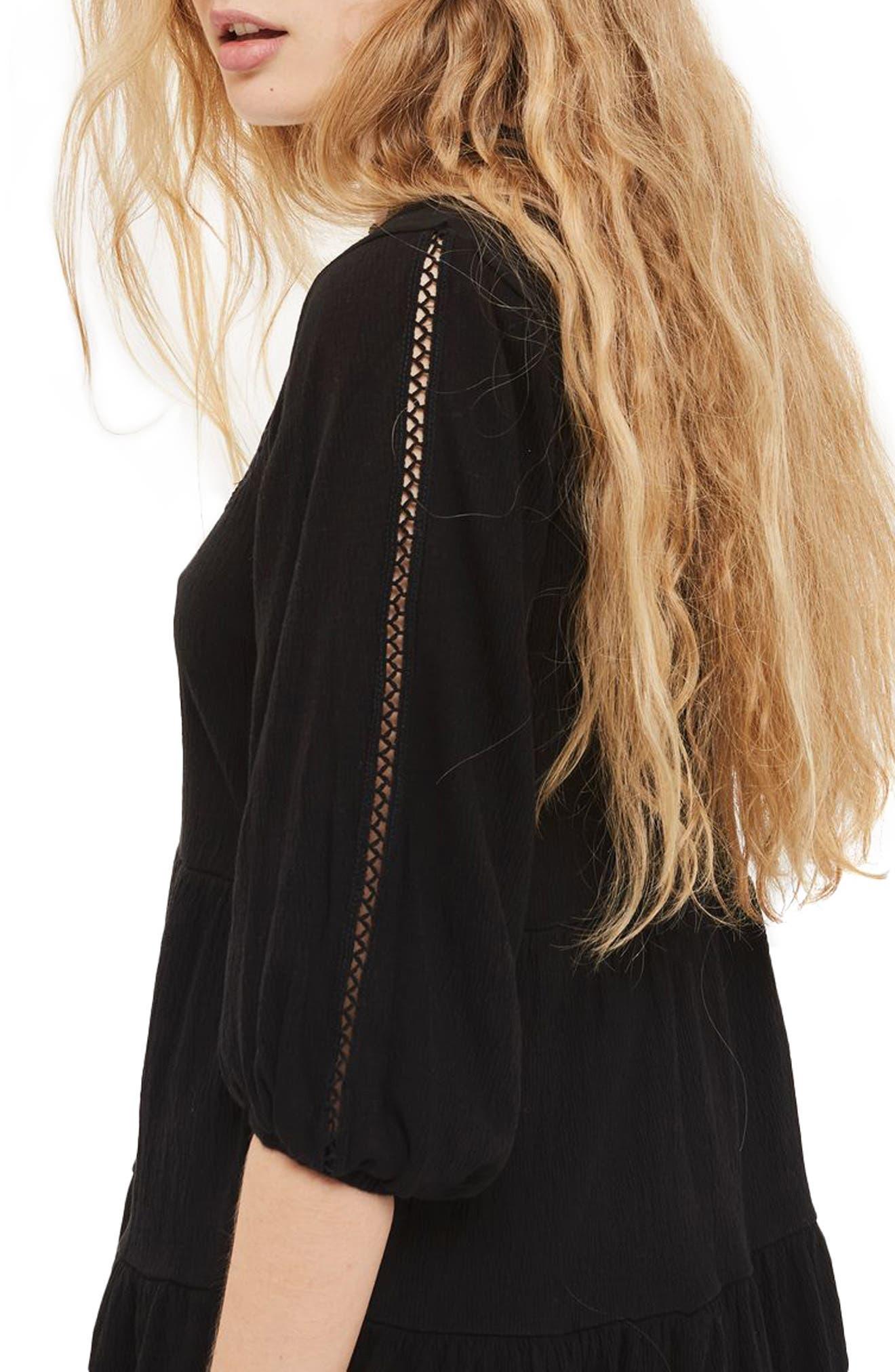 Embroidered Smock Dress,                             Alternate thumbnail 3, color,                             Black Multi
