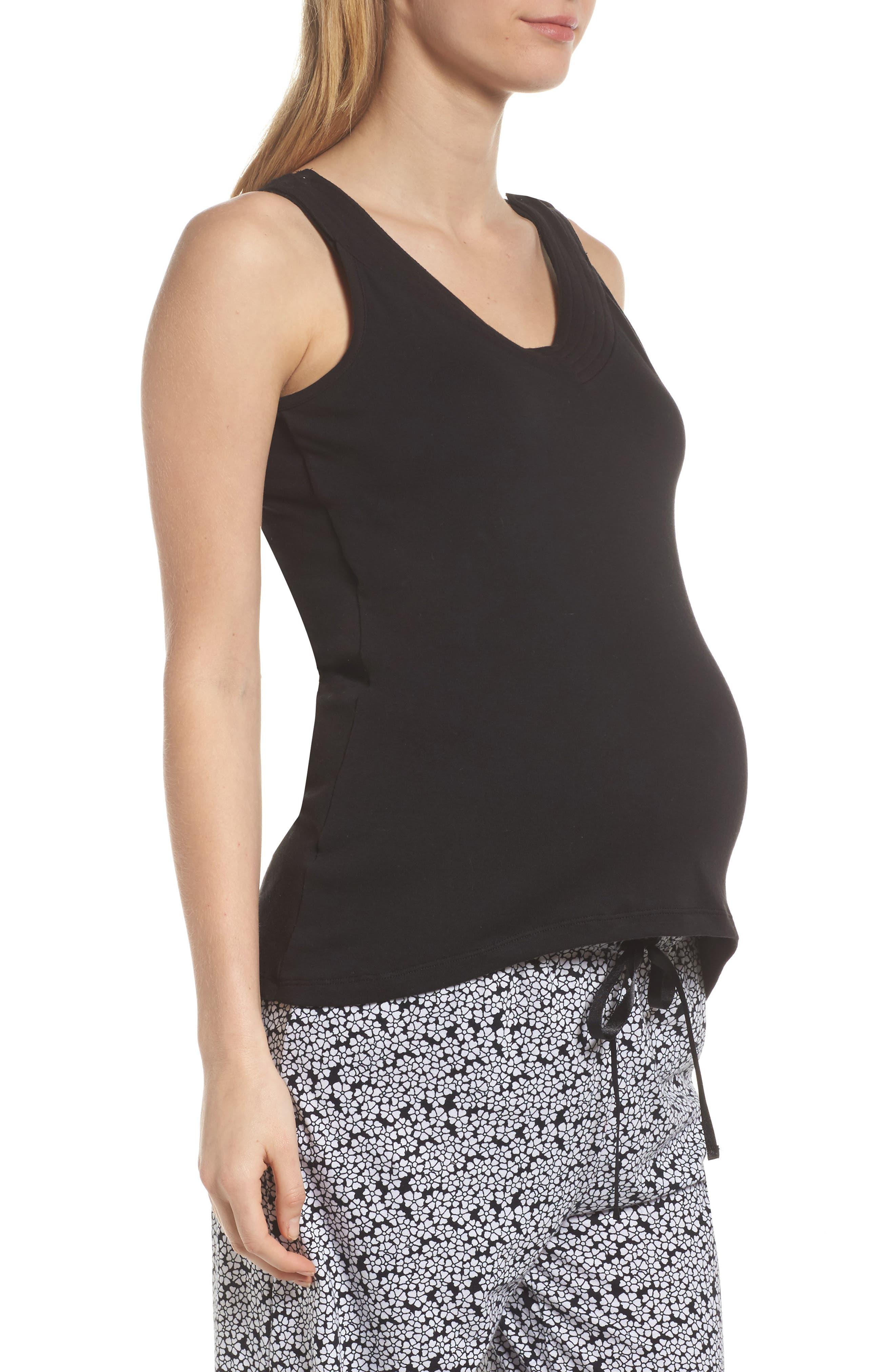 New Mama Maternity/Nursing Tank,                             Alternate thumbnail 3, color,                             Black