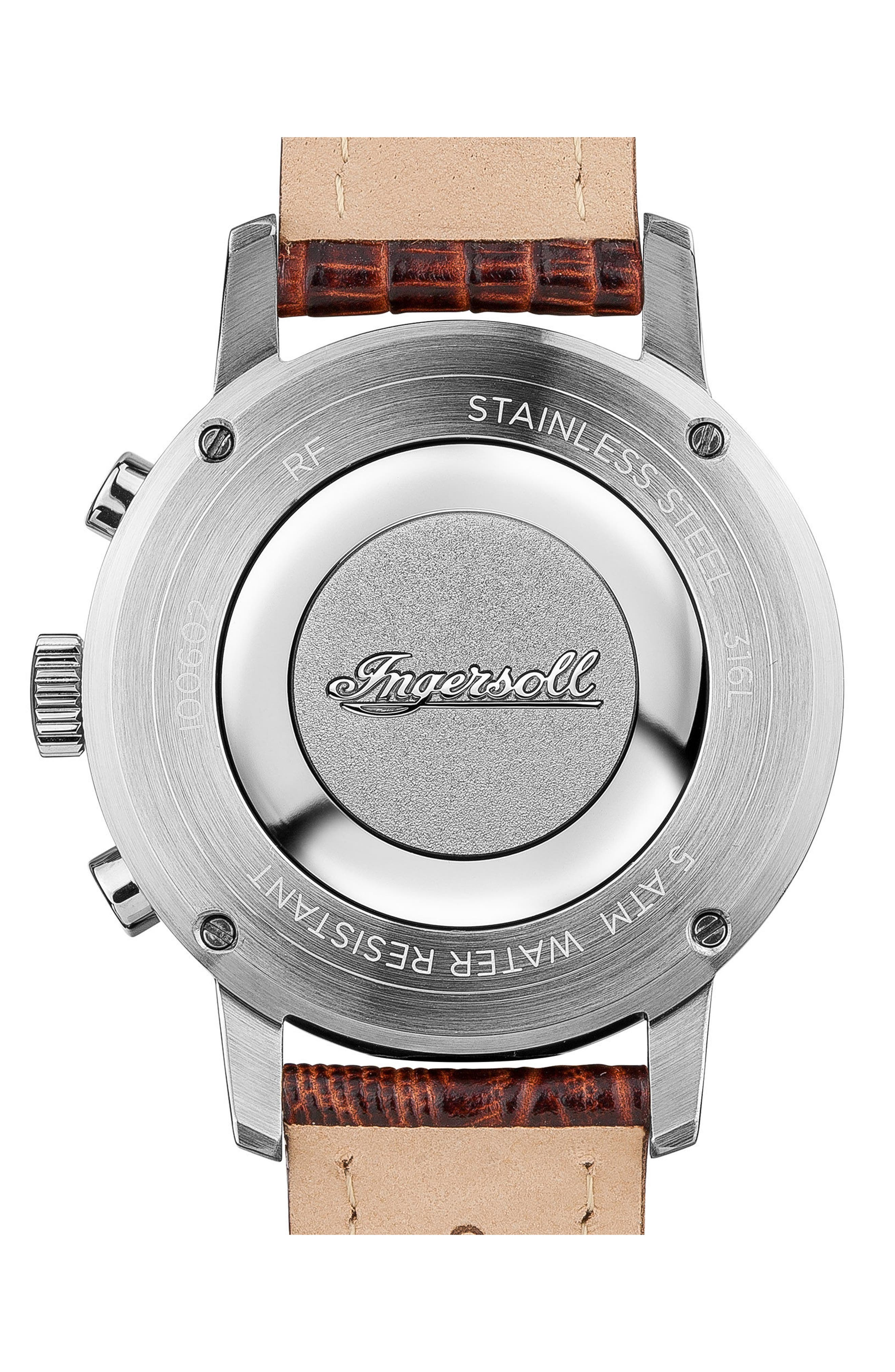 Ingersoll Grafton Chronograph Leather Strap Watch, 42mm,                             Alternate thumbnail 2, color,                             Brown/ White/ Gold